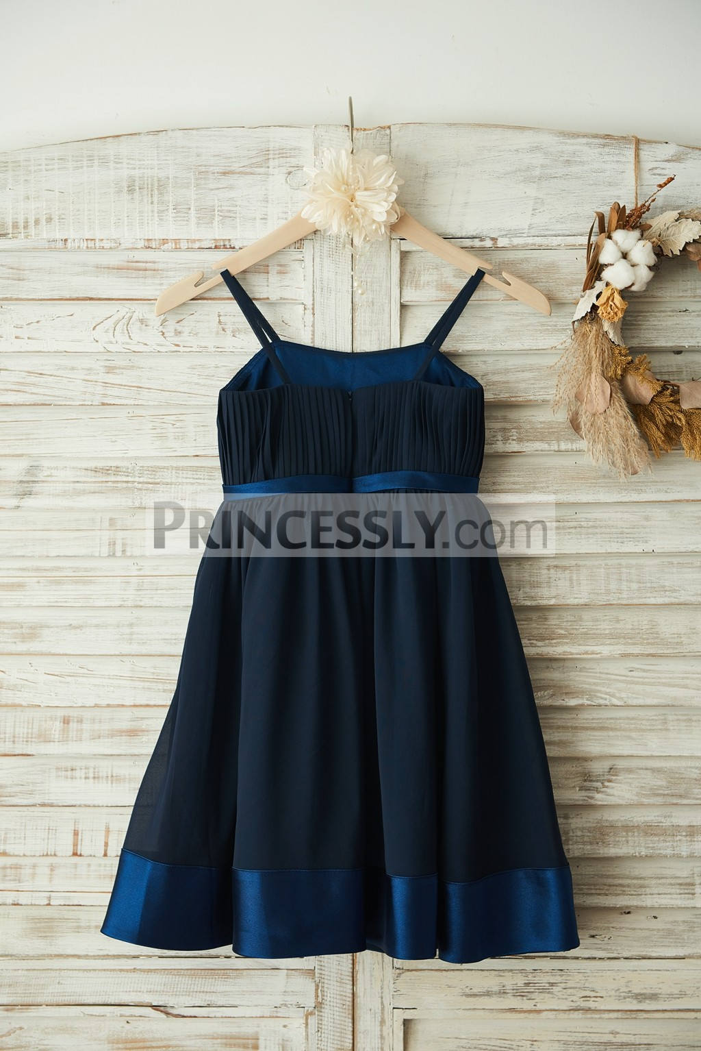 Boho Spaghetti Straps Navy Blue Chiffon Satin Wedding