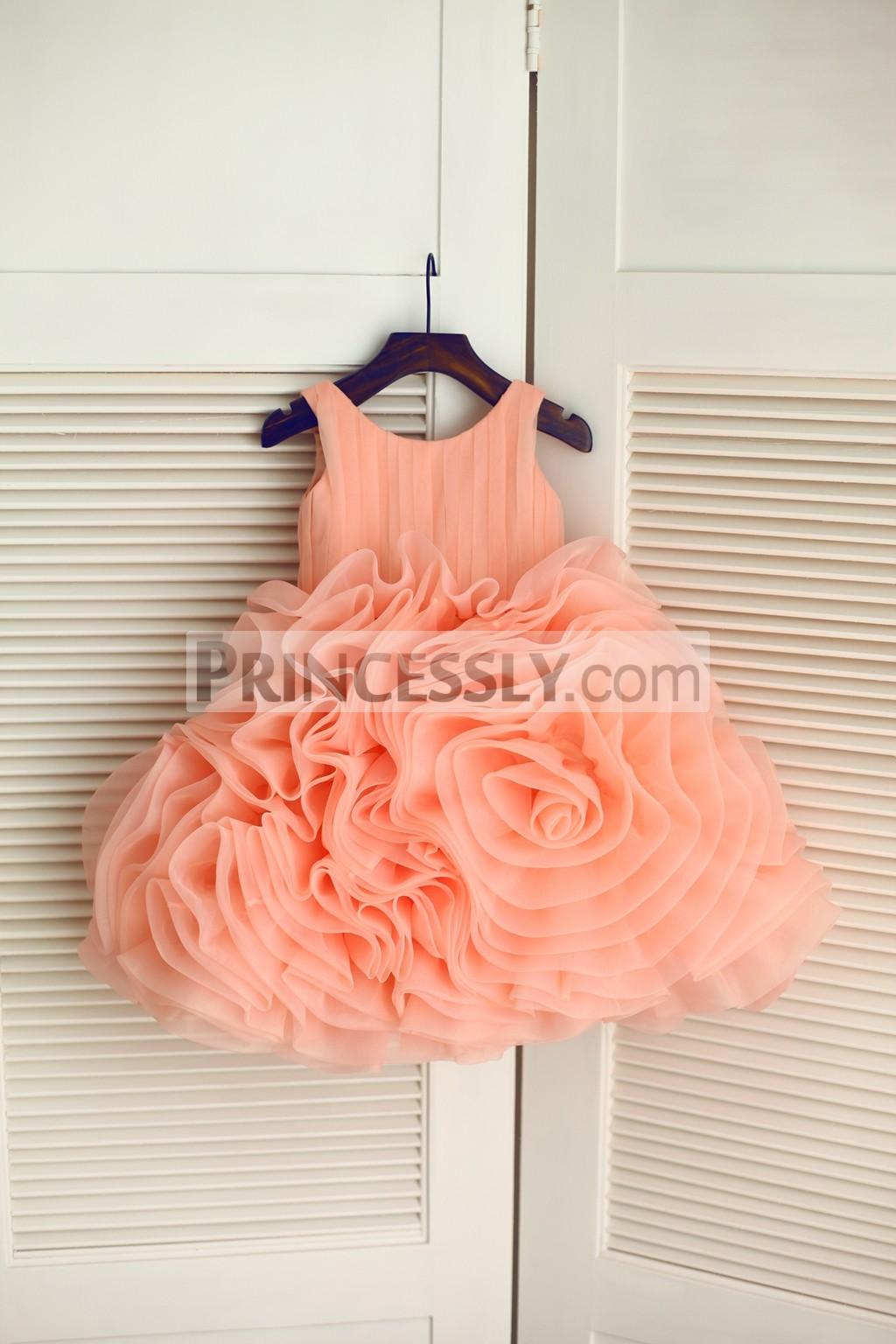 Coral Rosette Organza Ball Gown Toddler Flower Girl Dress