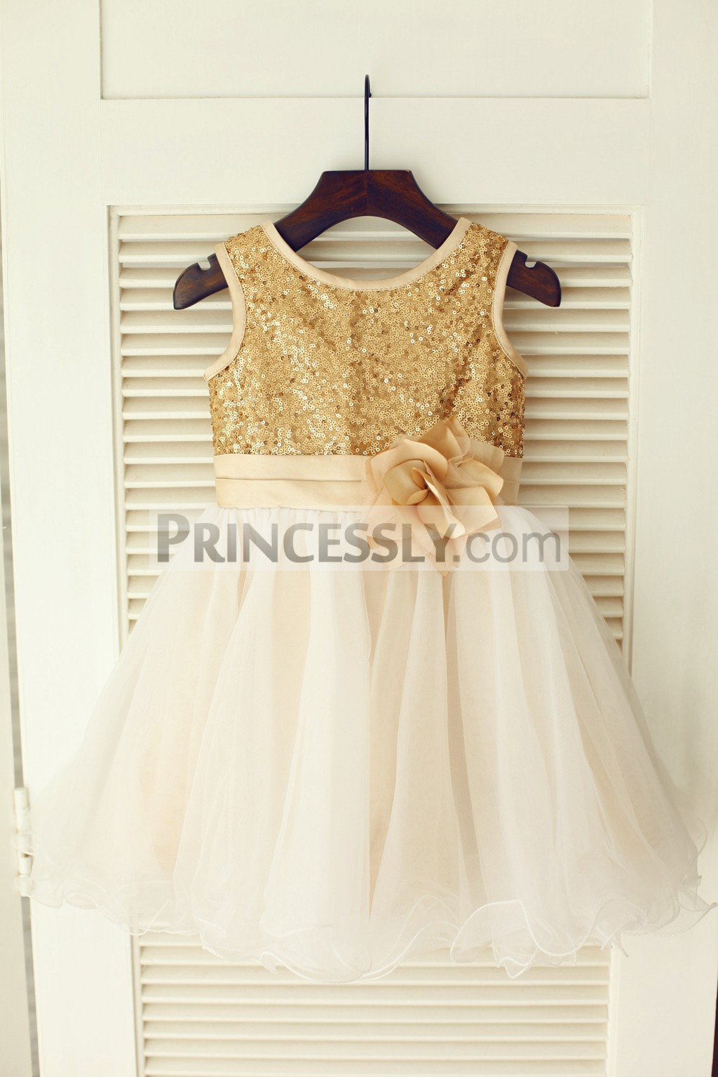 0459d8245 Gold Sequins Ivory Tulle Flower Girl Dress with Champagne Belt | Avivaly