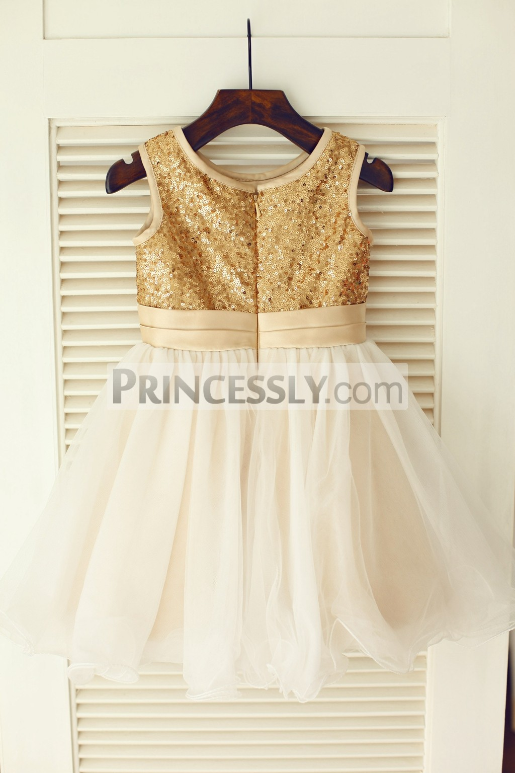 Gold Sequin Champagne Belt Ivory Tulle Wedding Baby Girl Dress