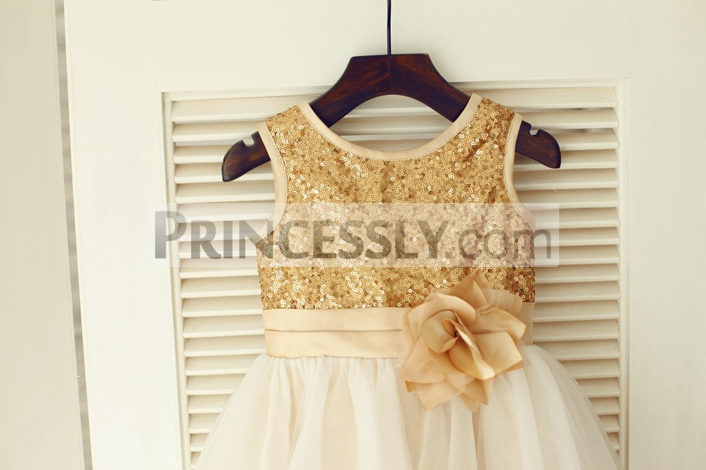 Gold Sequins Champagne Belt with Flower Bodice