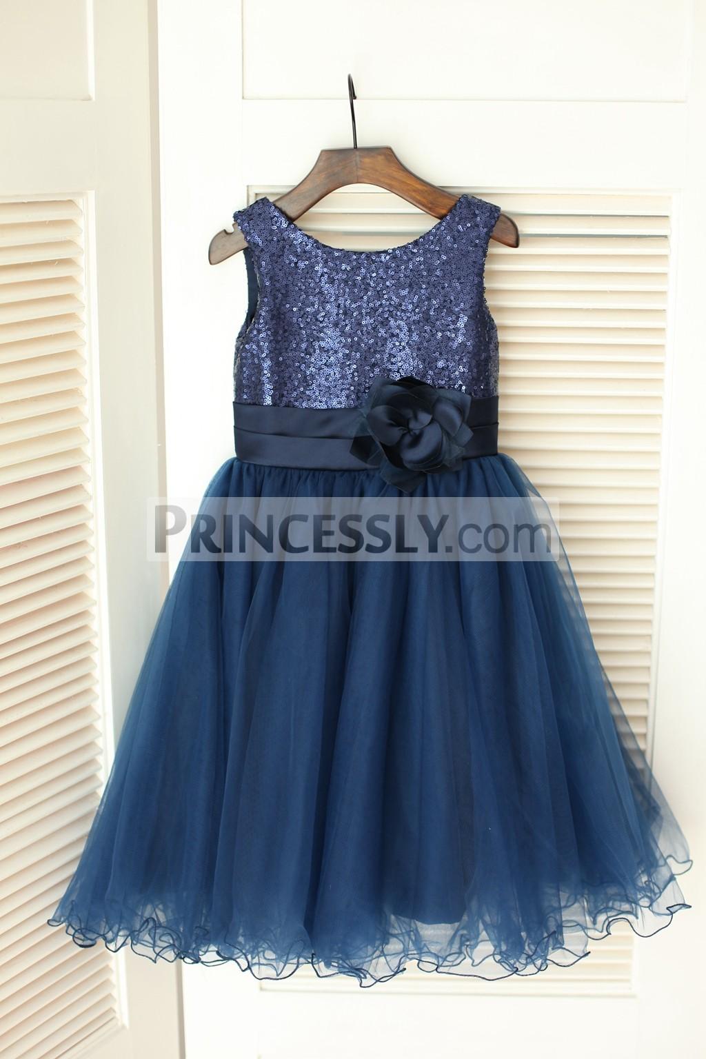 Navy Blue Sequins Tulle Flower Girl Dress