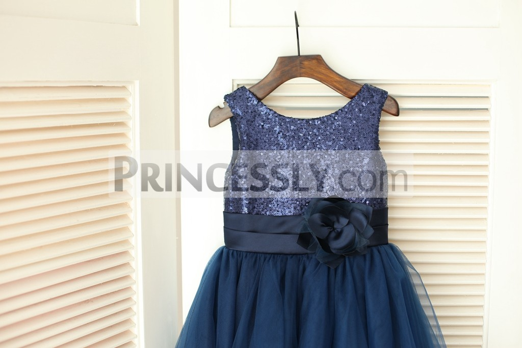 Bling Sequins Bodice with Pleated Belt and Flower
