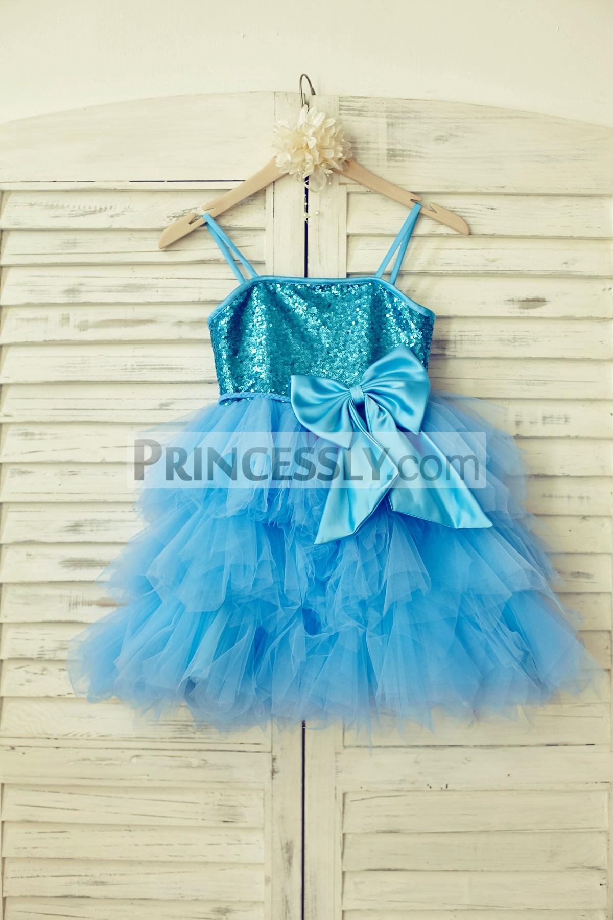 Blue spaghetti straps straight neckline tutu tulle skirt flower girl dress