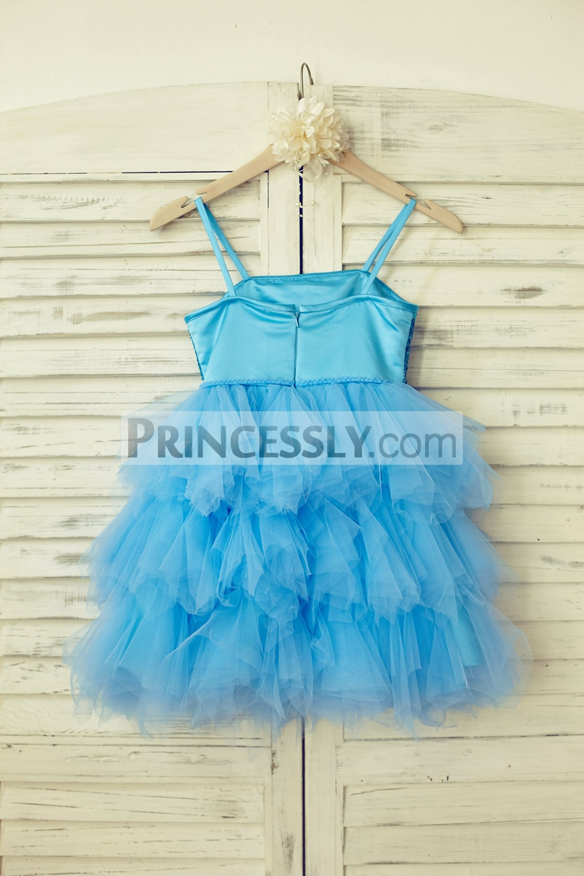 Blue satin tulle ruffles flower girl dress