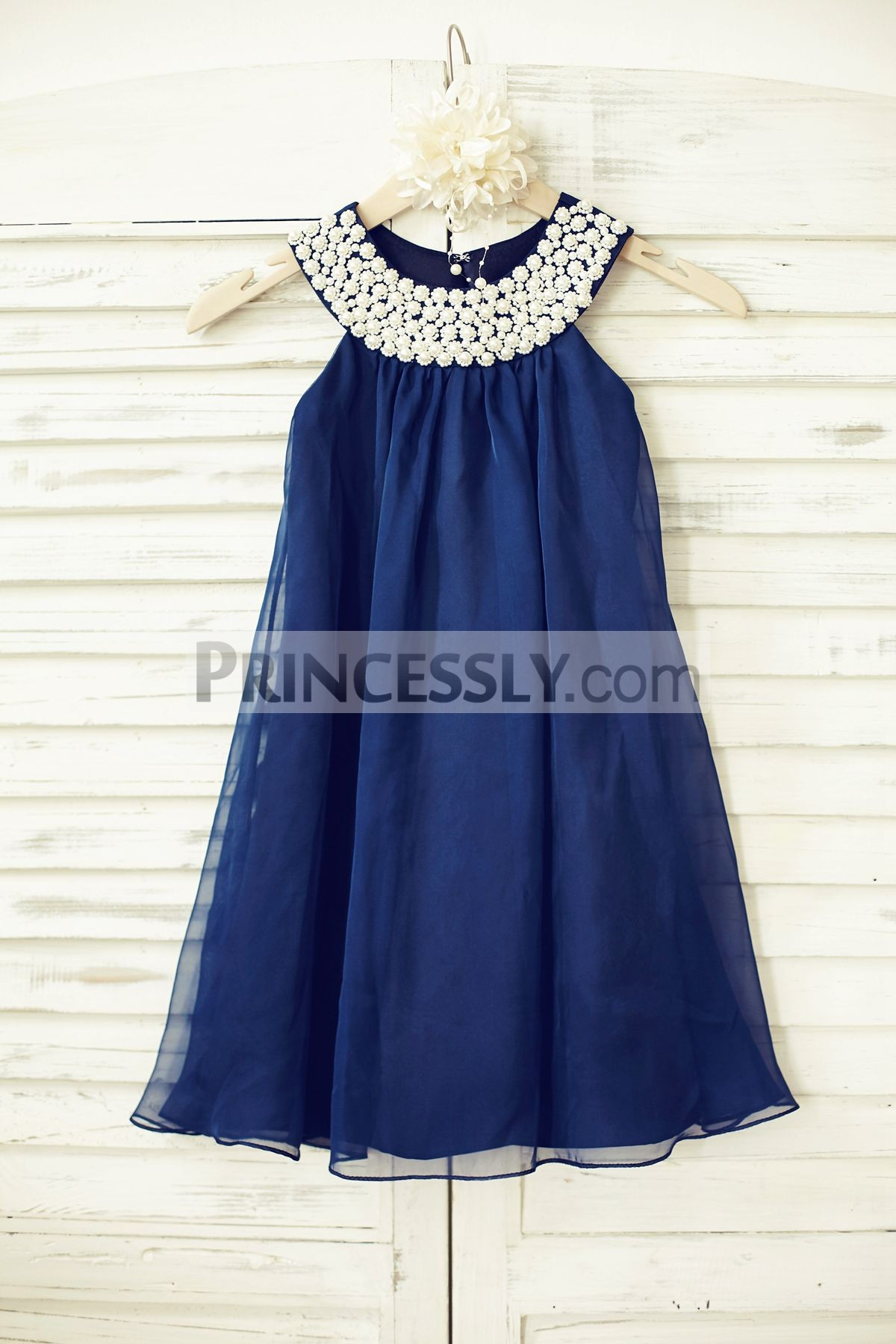 Boho Beach Pearl Beaded Neck Navy Blue Chiffon Flower Girl Dress