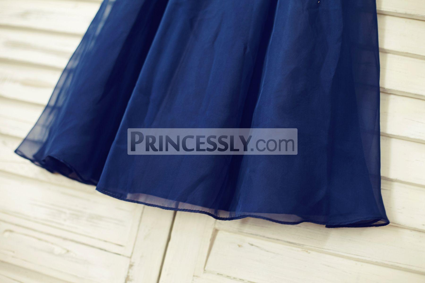Navy blue flow chiffon skirt