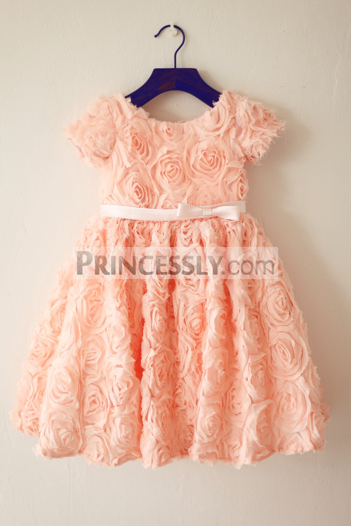 Short sleeves 3D rosettes flower girl dress