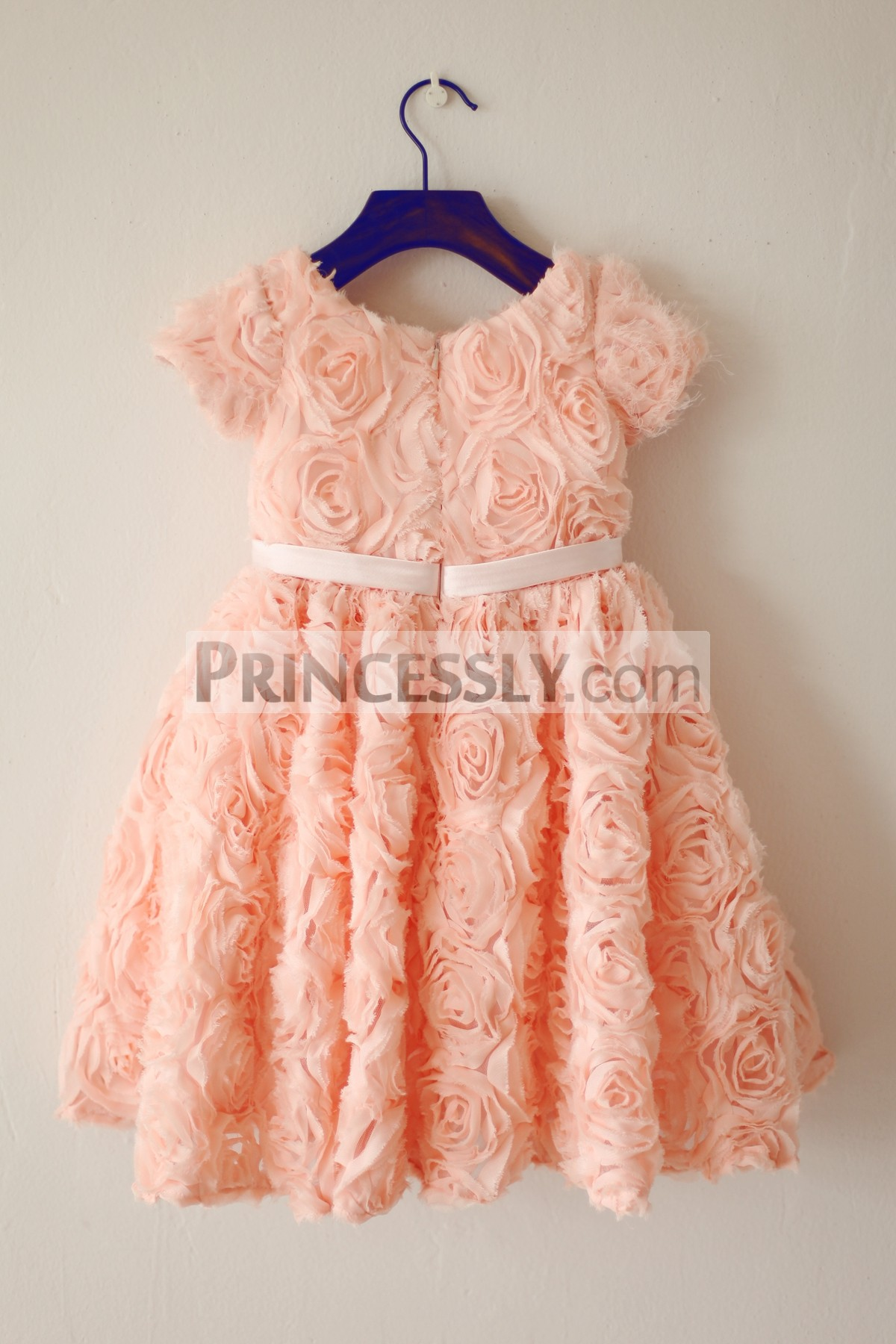 Peach pink rosettes short sleeves wedding baby girl dress