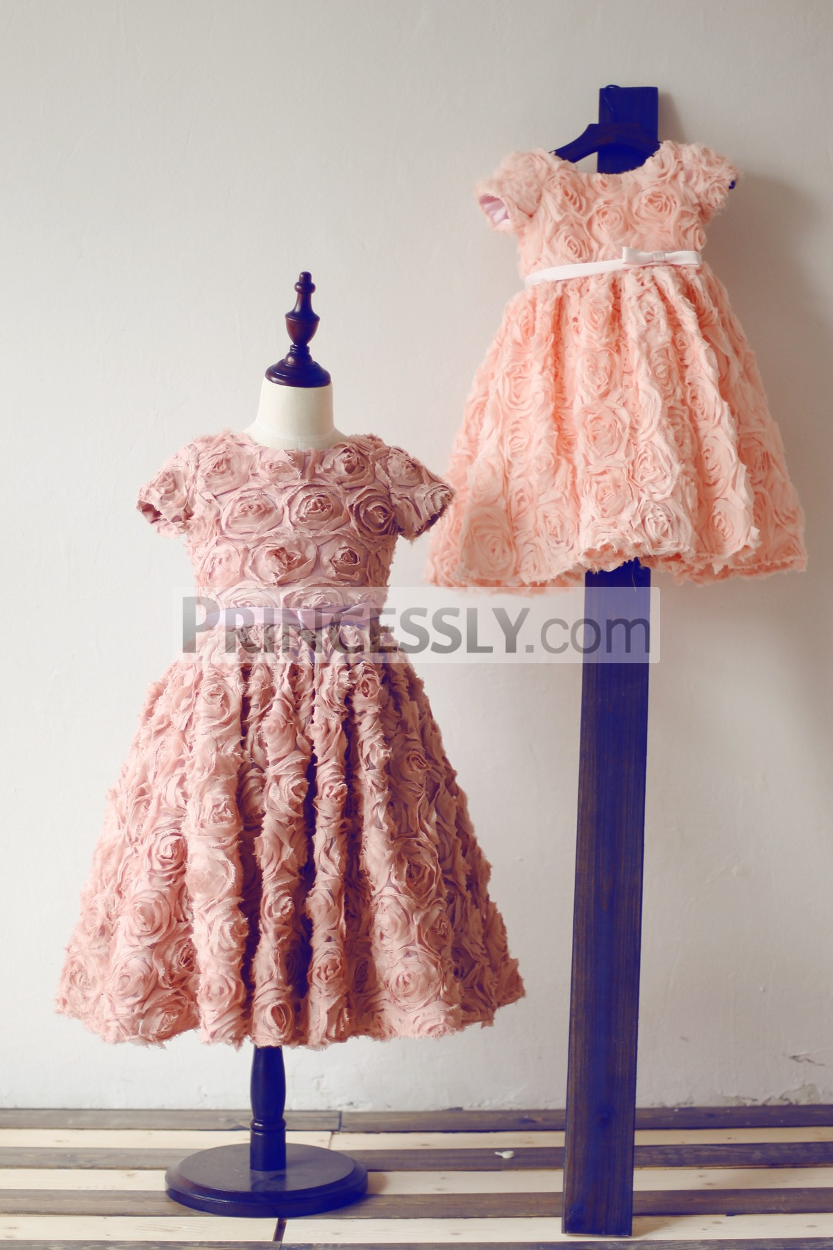 Short sleeves dusty rose flower girl dress
