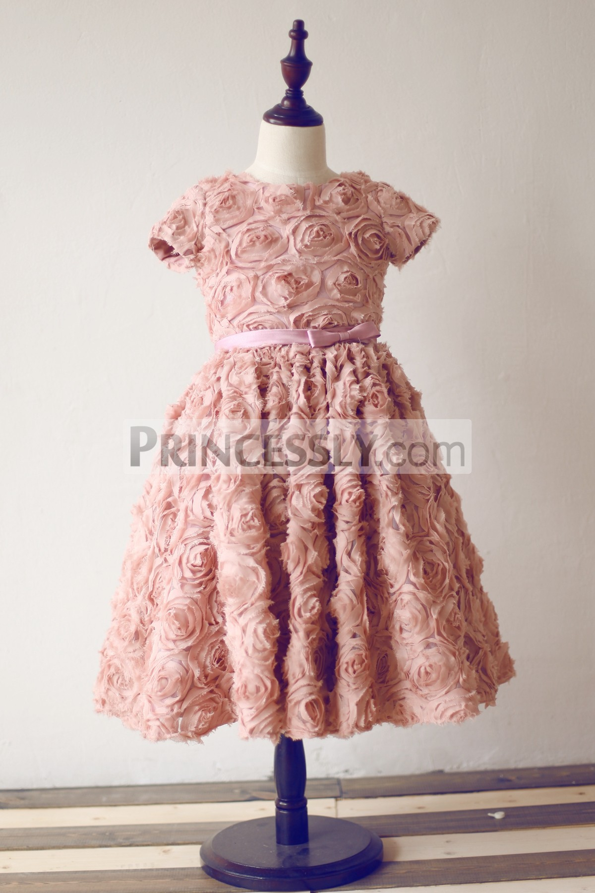 Short Sleeves Dusty Rose Peach Pink Rosette Flower Girl Dress With