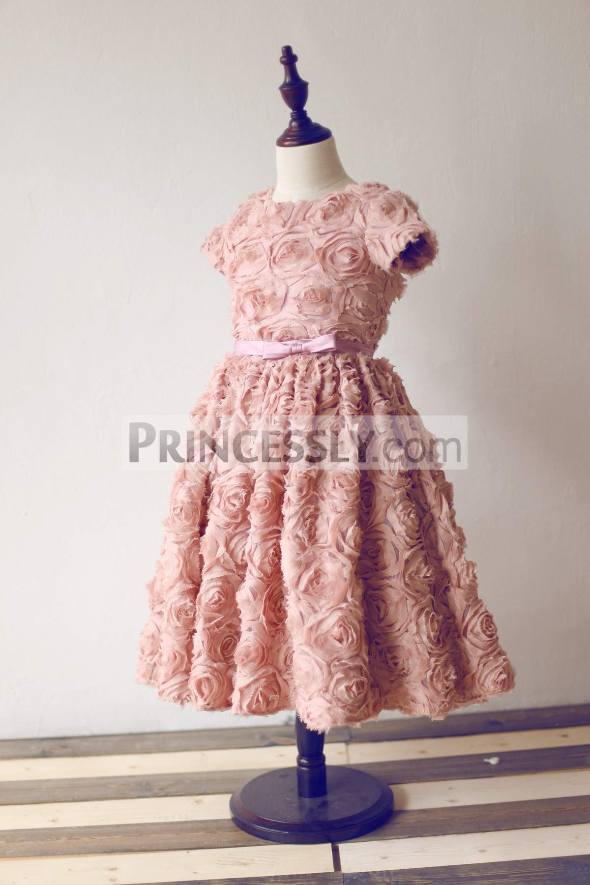 Short sleeves dusty rose puffy skirt wedding flower girl dress