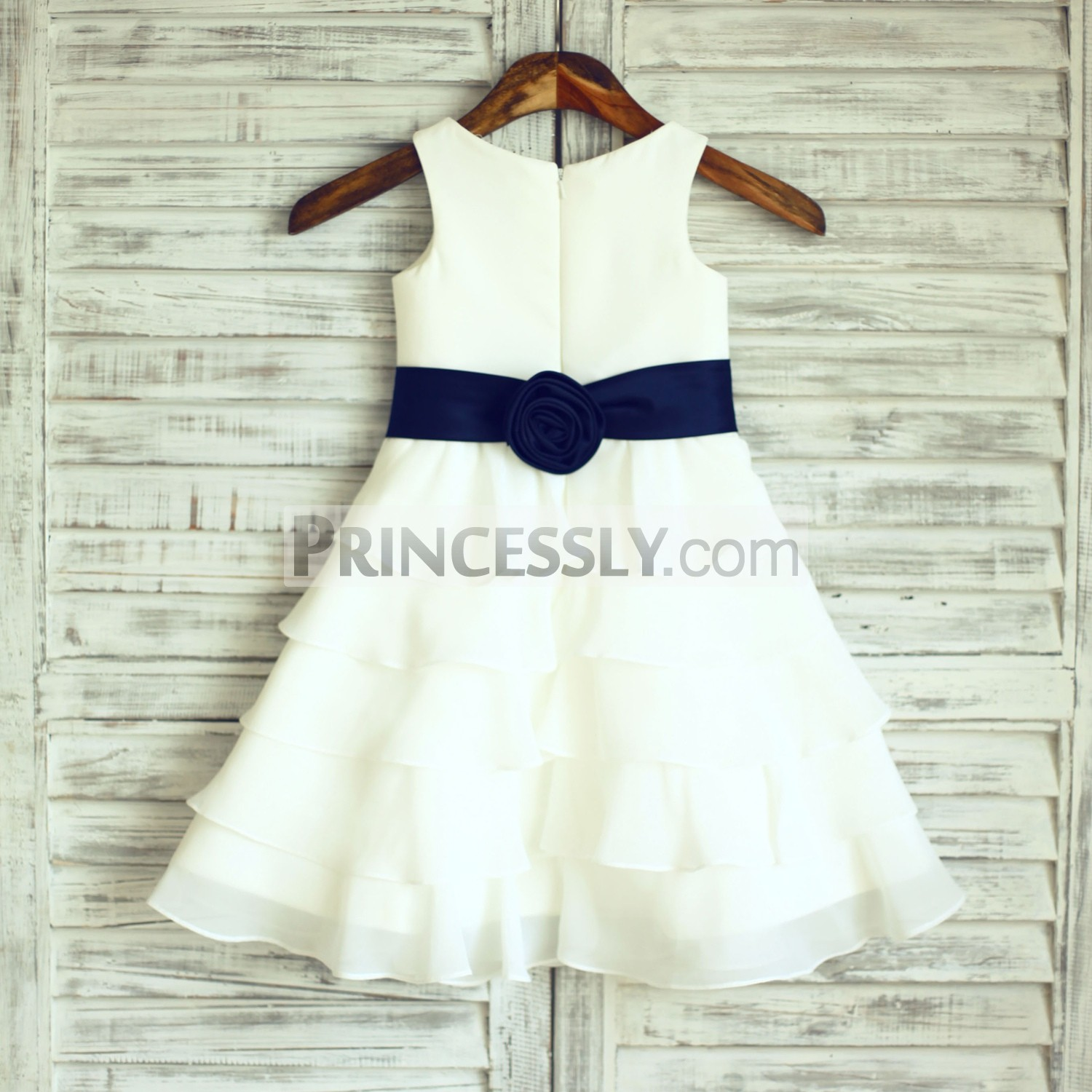 Boho Beach Ivory Chiffon Cupcake Flower Girl Dress With Navy Blue
