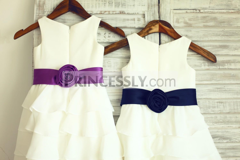 Boho Beach Ivory Chiffon Cupcake Flower Girl Dress With Navy Blue
