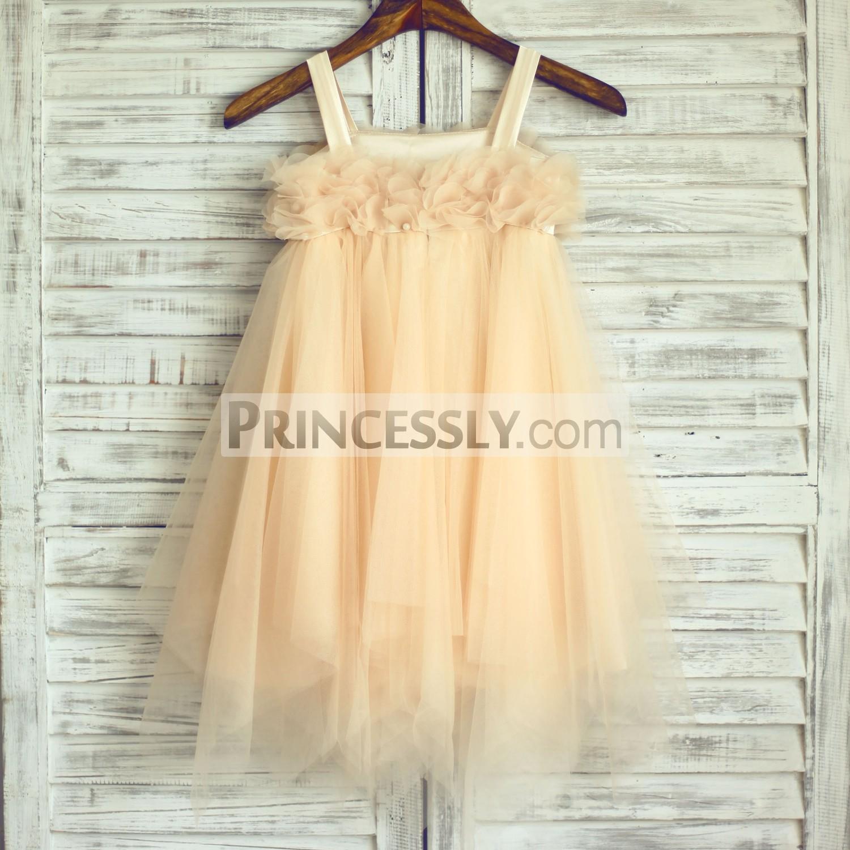 Boho Beach Thin Straps Petals Champagne Tulle Flower Girl Dress ...