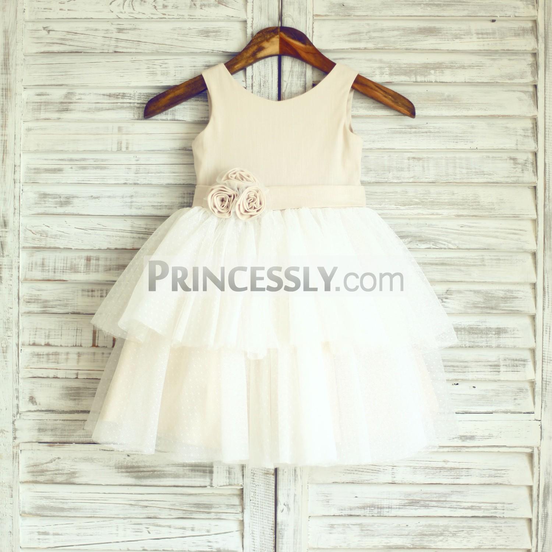 Champagne linen polka dot tulle cupcake toddler flower girl dress