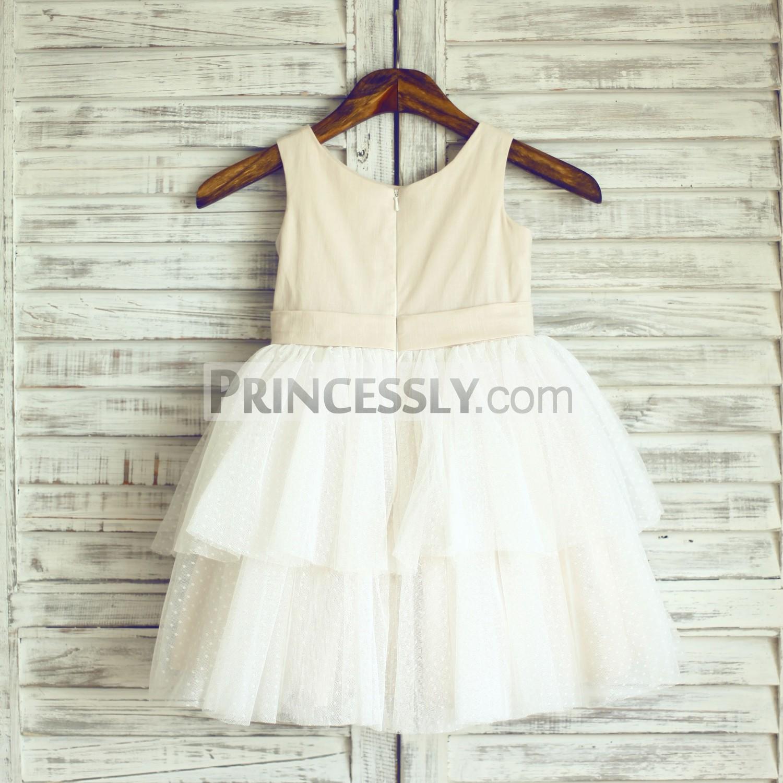 Champagne linen ivory polka dot tulle cupcake infant baby girl dress