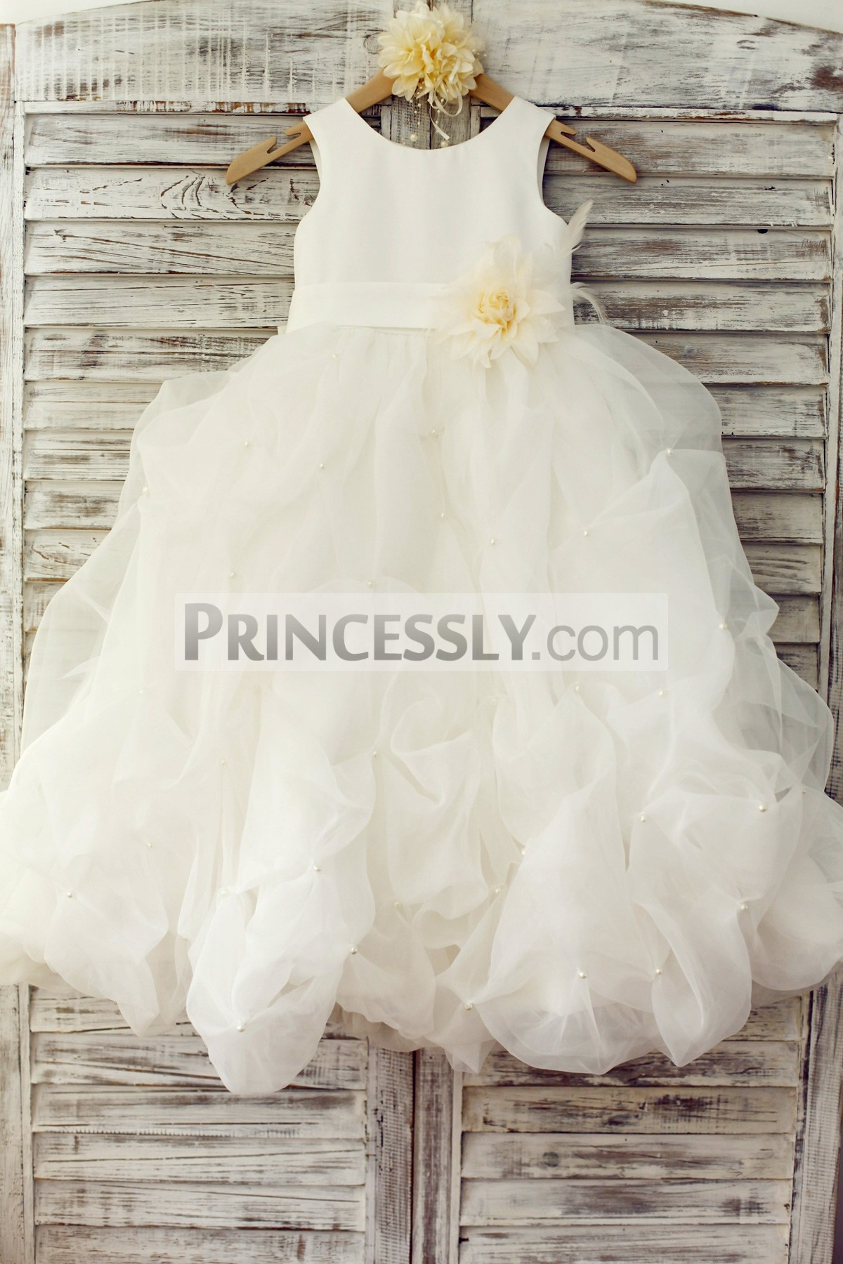 e4b4005f19c Ivory Satin Organza Pearl Beaded Pick-up Flower Girl Dress with ...