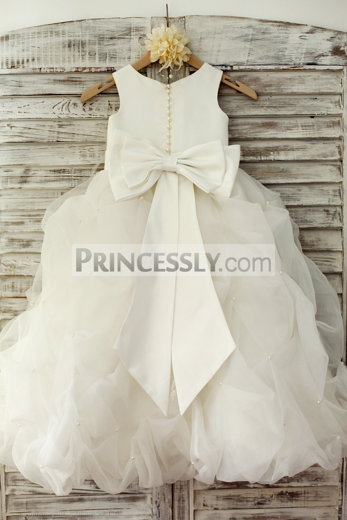 Ivory Satin Organza Pearl Beaded Pick Up Flower Girl Dress