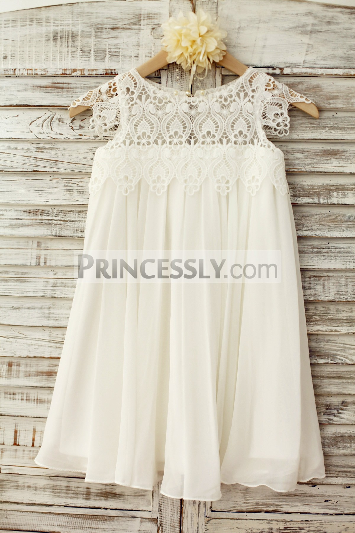 Boho Beach Lace Cap Sleeves Ivory Chiffon Flower Girl Dress | Avivaly
