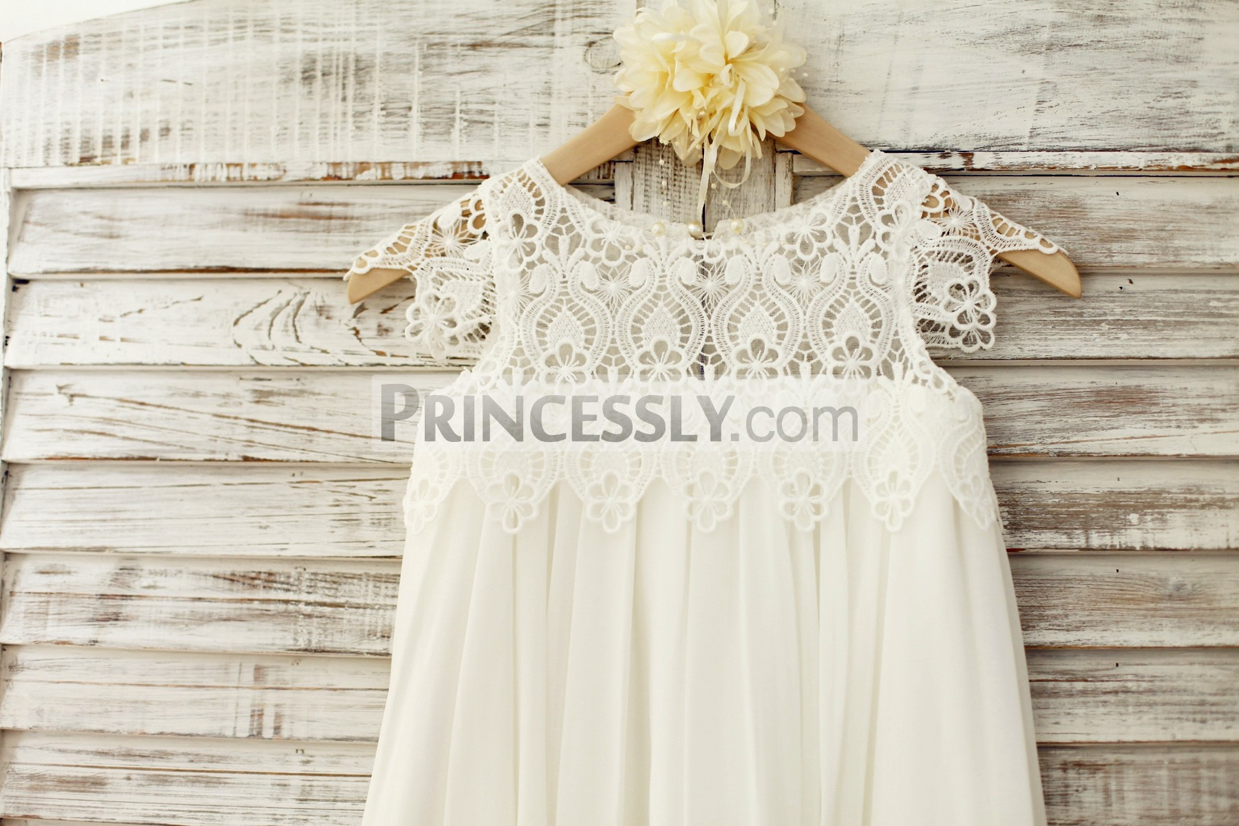 Ivory crochet lace cap sleeves sheer bodice