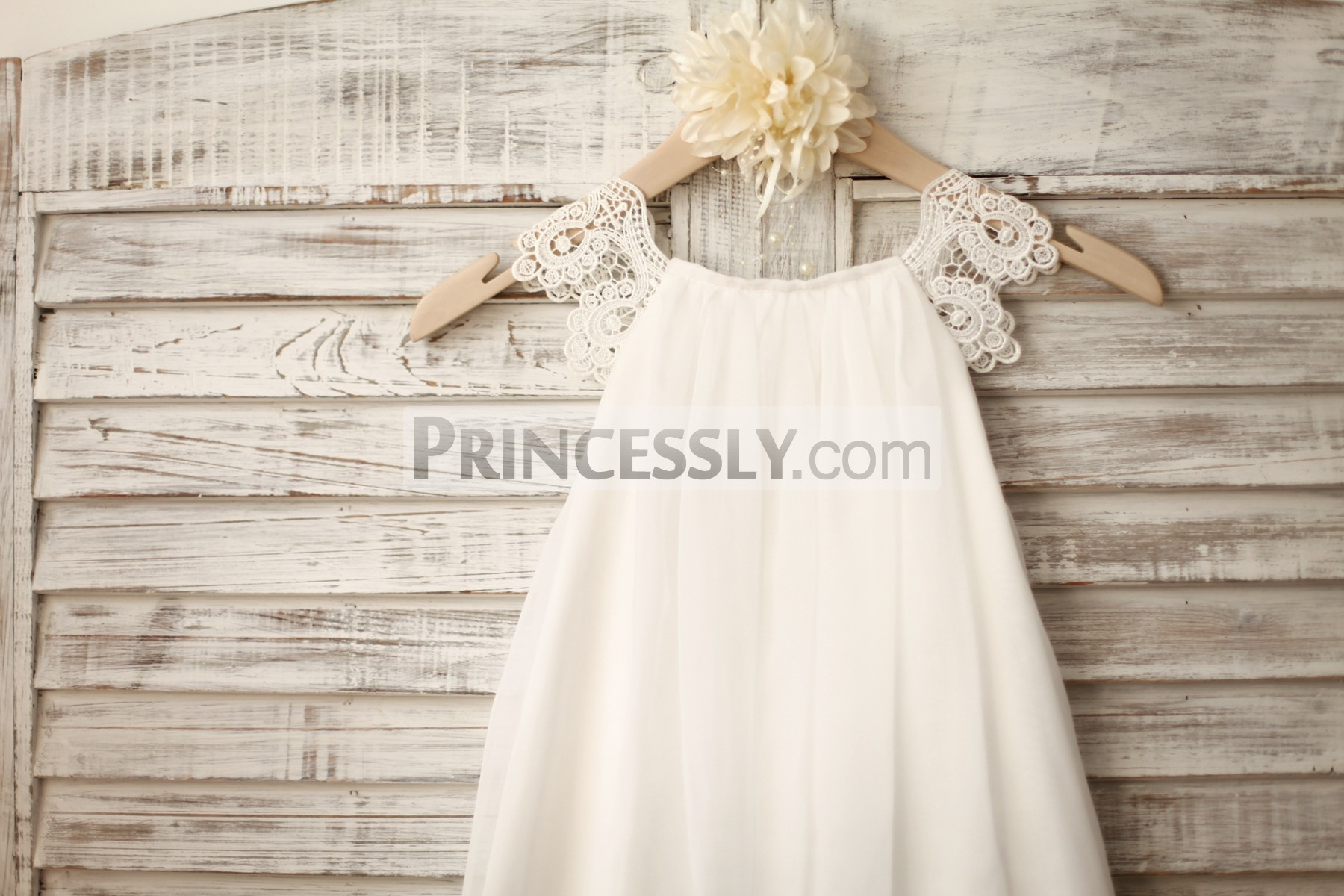 8d18023ccf9 ... ivory chiffon flower girl dress. Bohemian beach wedding little girl  dress with lace cap sleeves. Crochet lace scalloped cap sleeves