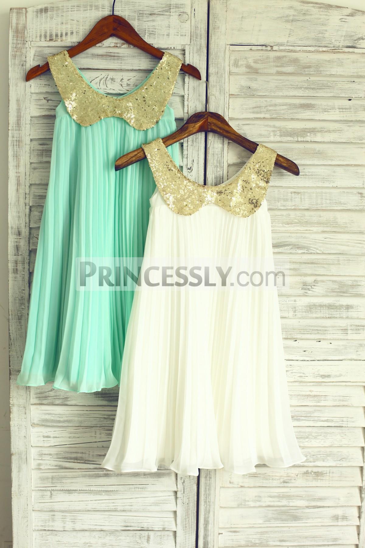 d3d105640c1 Boho gold sequin chiffon beach wedding flower girl dress · Gold sequin  peter pan collar mint wedding baby ...