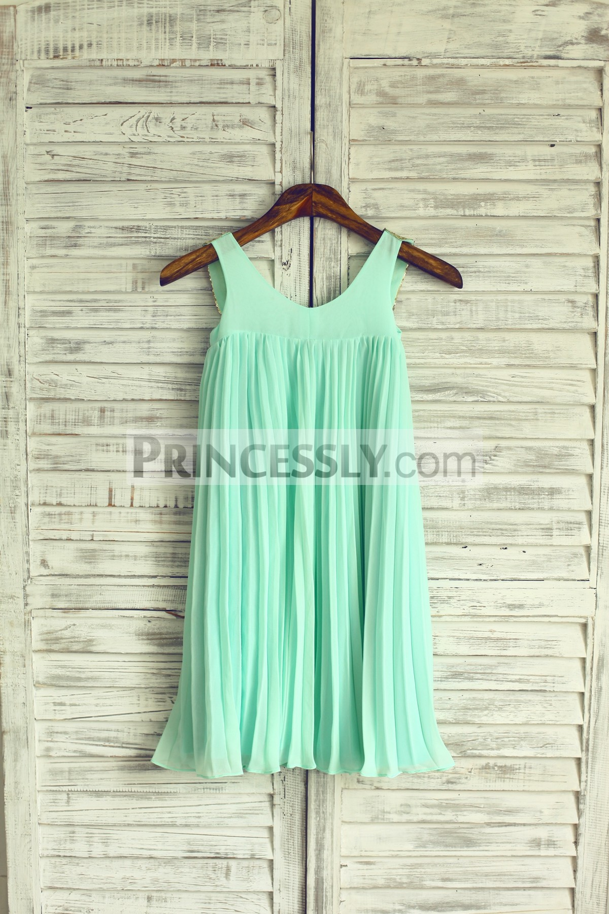 bdc3484c5f9 Mint chiffon pleated flower girl dress · Gold sequin peter pan collar ivory  chiffon flower girl dress