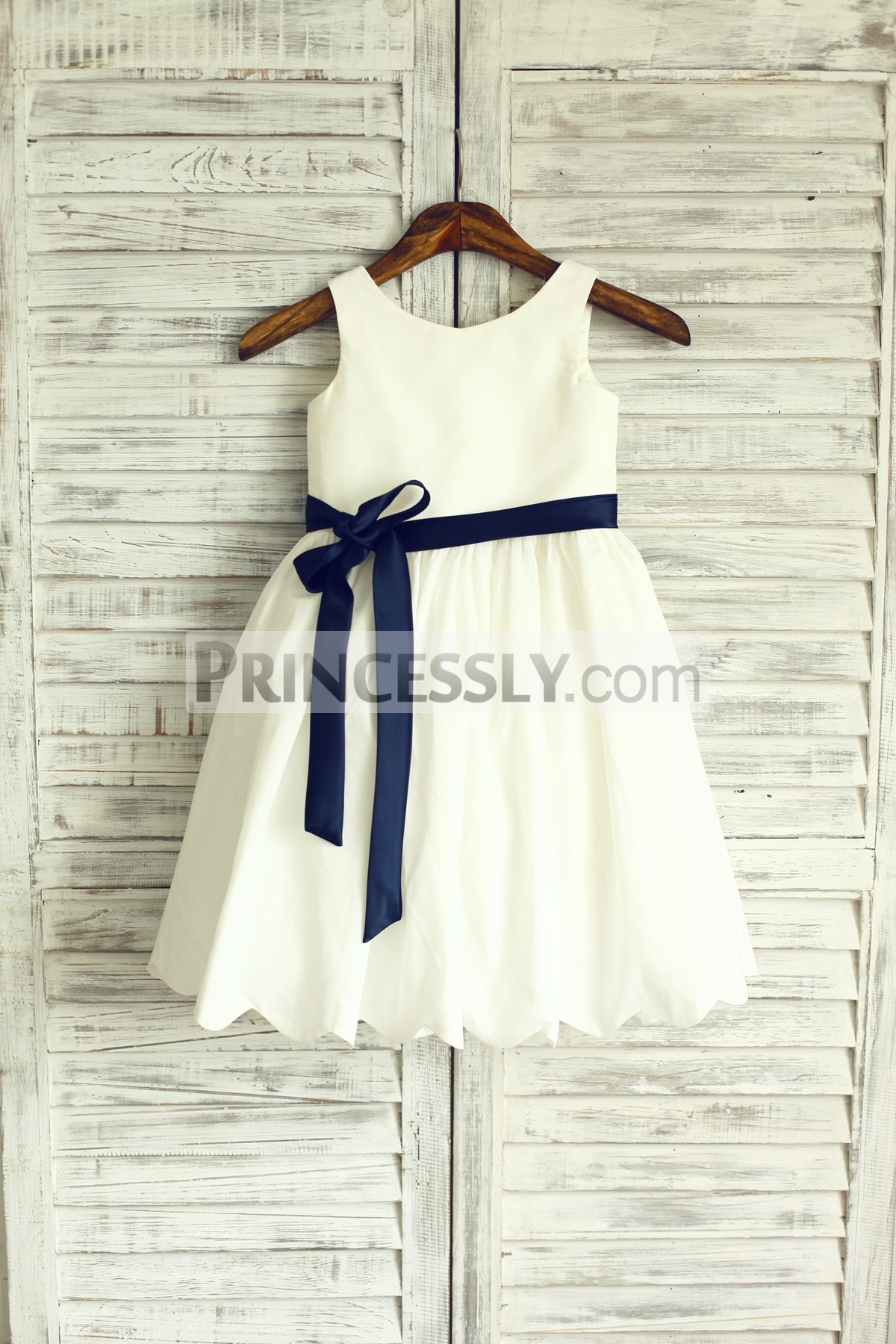 Sleeveless ivory cotton flower girl dress with navy blue sash avivaly ivory cotton flower girl dress mightylinksfo