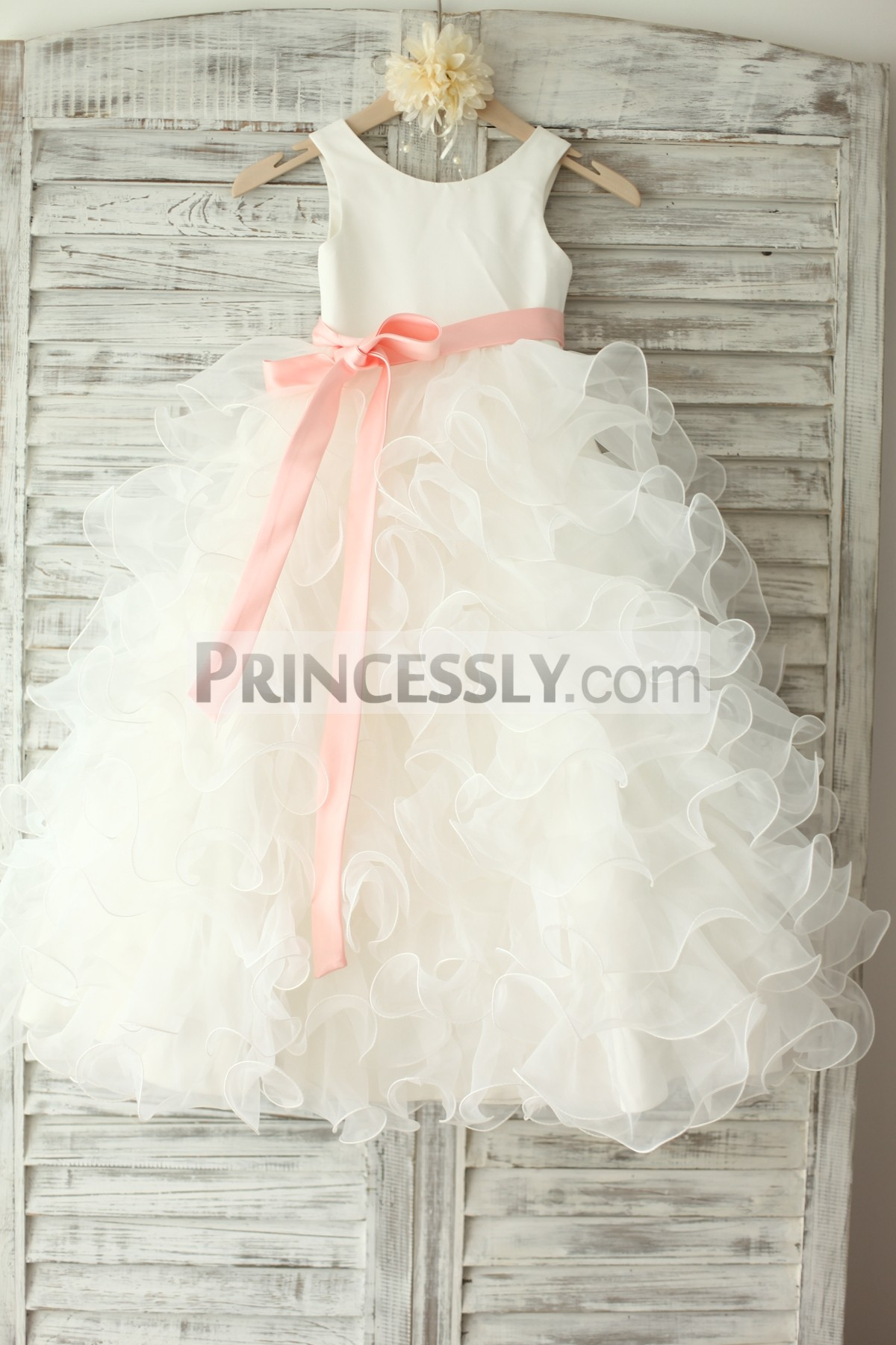 4e66962aa7b Ivory Satin Ruffle Organza Skirt TUTU Princess Flower Girl Dress ...