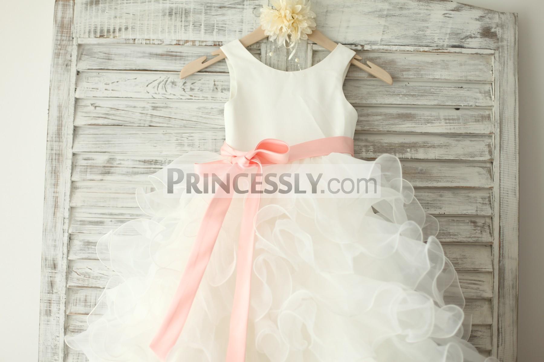 147ee30de80f Ivory Satin Ruffle Organza Skirt TUTU Princess Flower Girl Dress ...