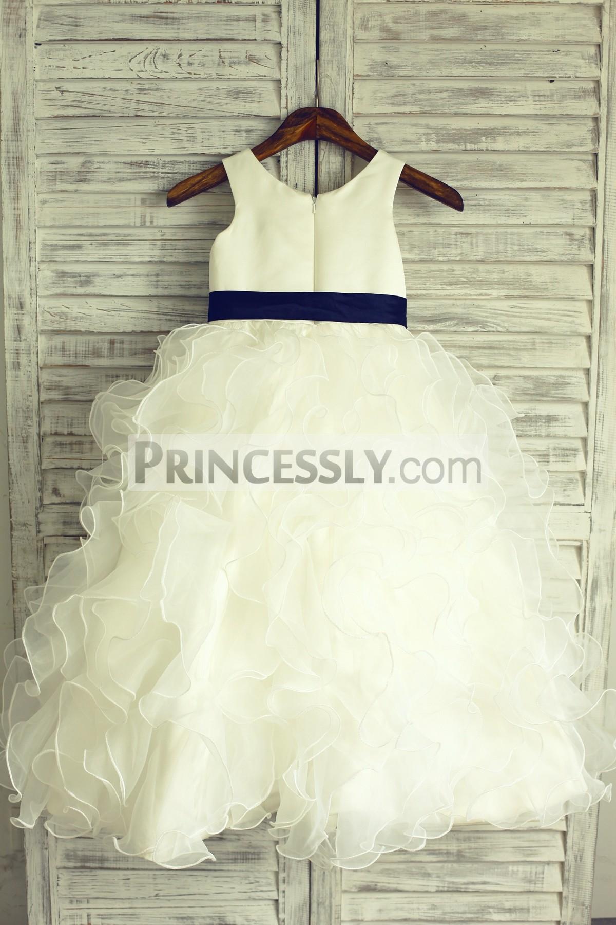 Ivory satin ruffled organza wedding little girl dress