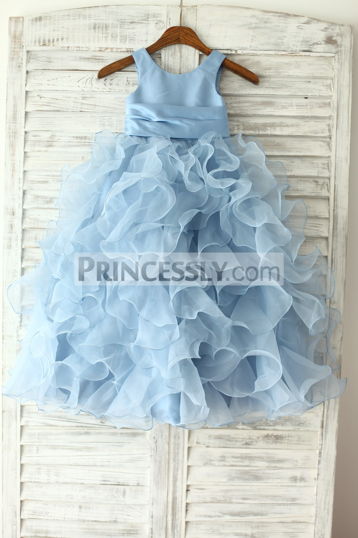 ff12c2235e7 Blue Satin Organza Ruffles Flower Girl Dress with Handmade Flowers ...