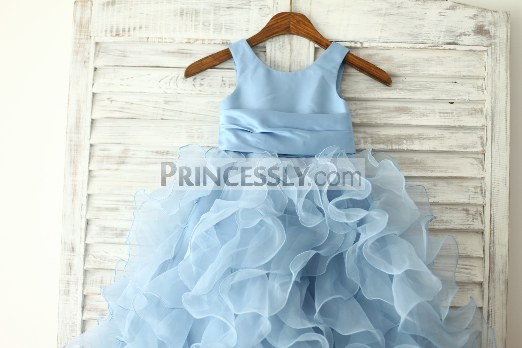 f2a20676c6a Blue satin ruffles organza wedding baby girl dress. Blue satin bodice in  scoop neck and sleeveless style
