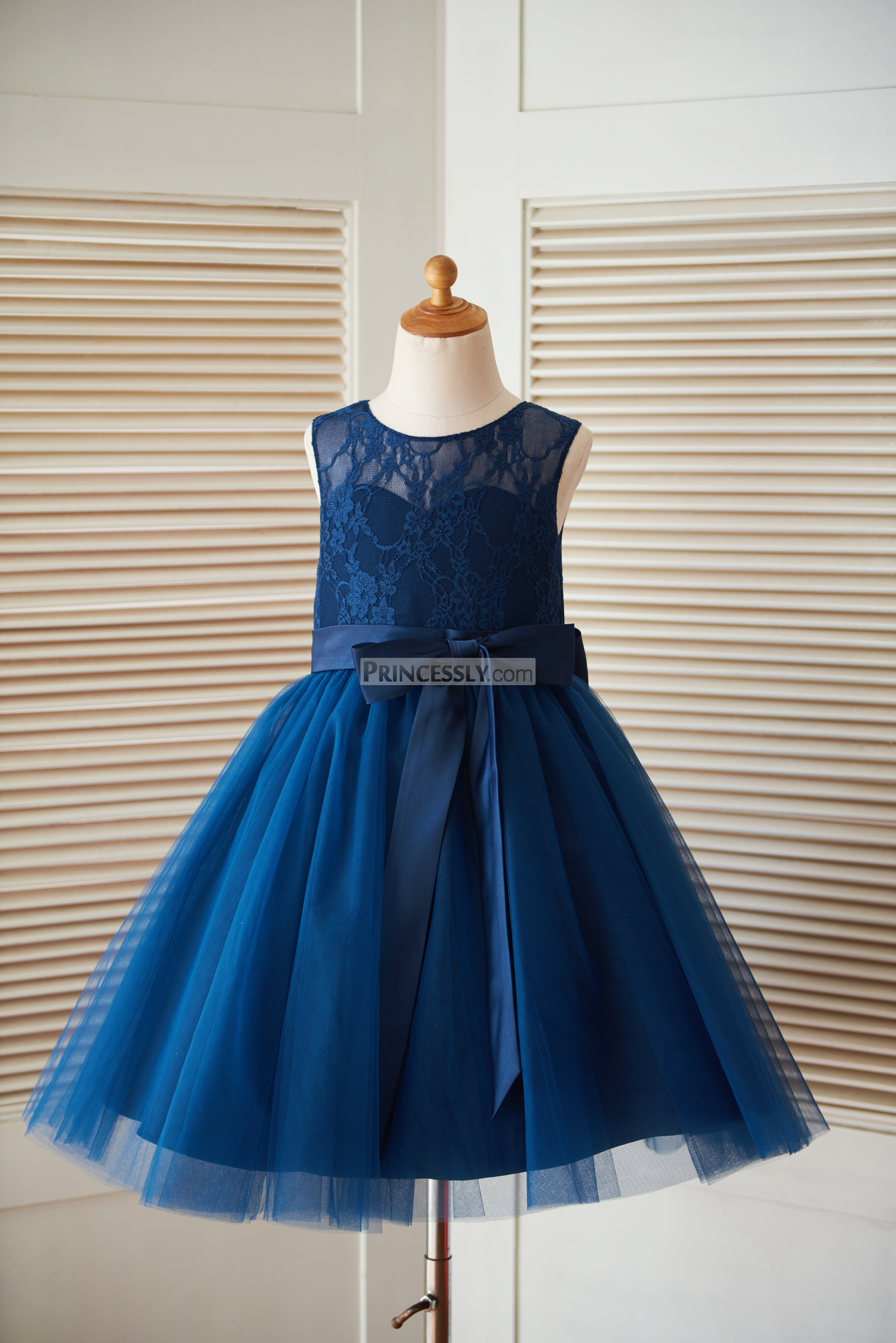 Navy blue lace tulle flower girl dress with sash