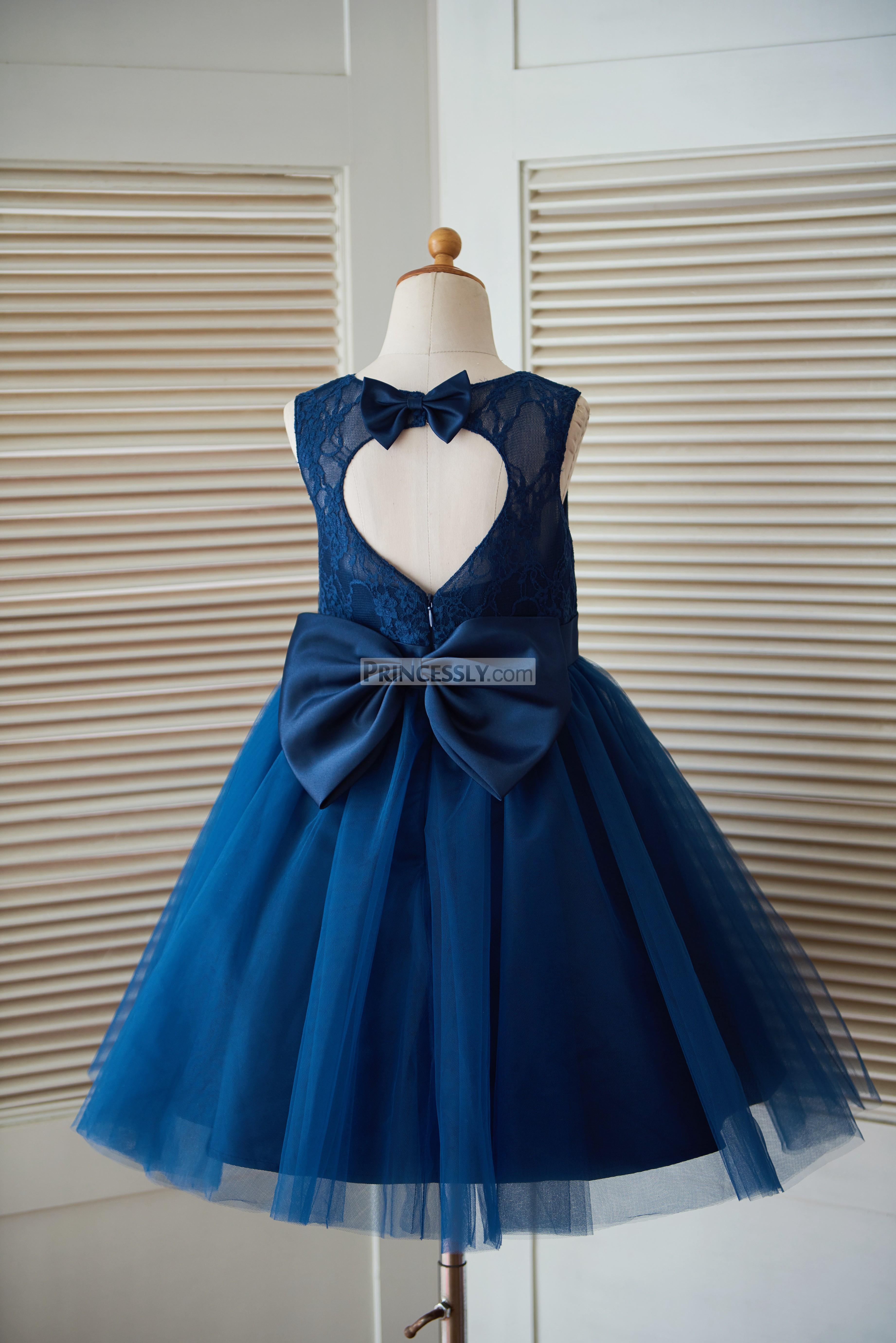 Navy blue lace tulle keyhole back wedding baby girl dress