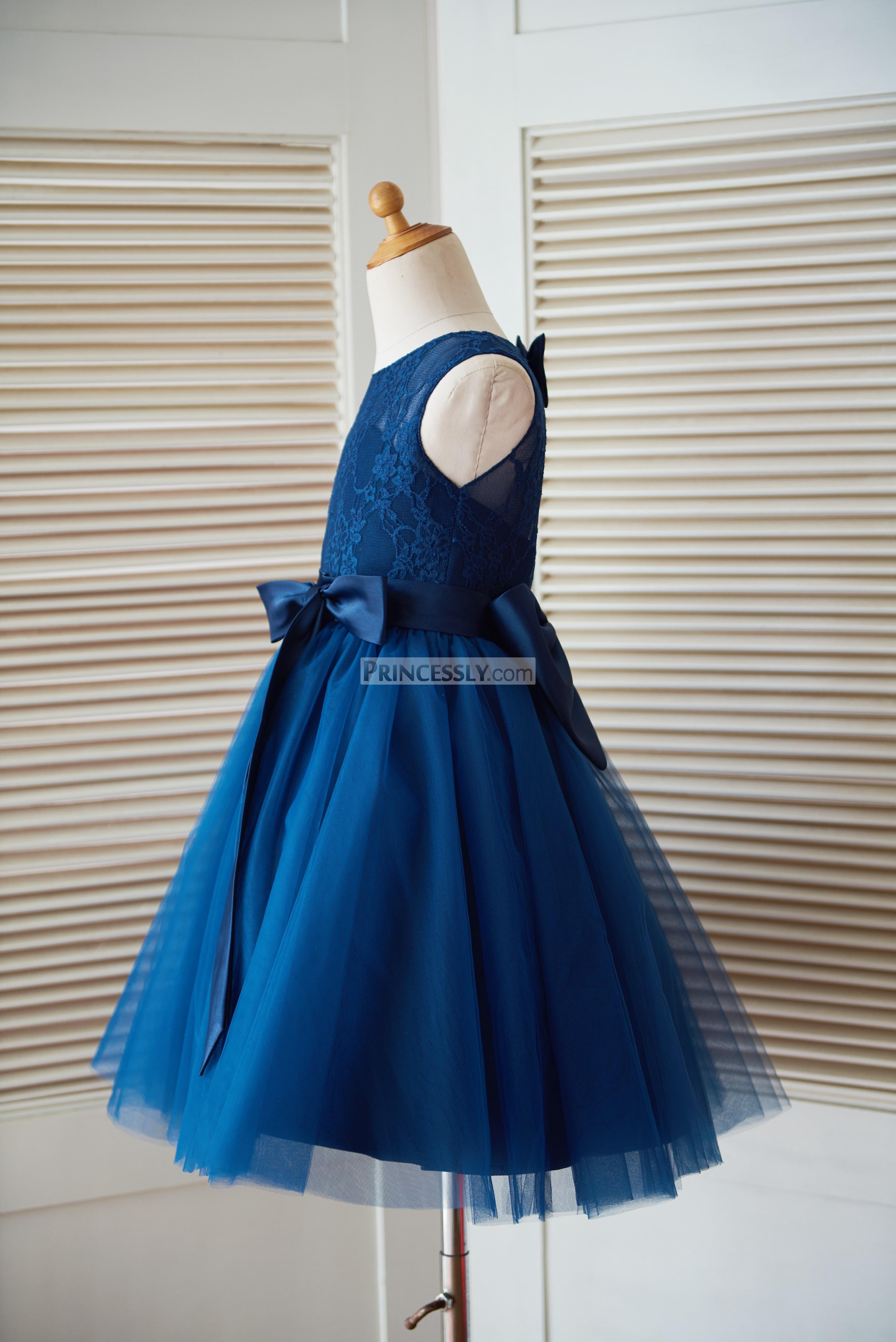 Navy blue sleeveless little girl dress for wedding with sash