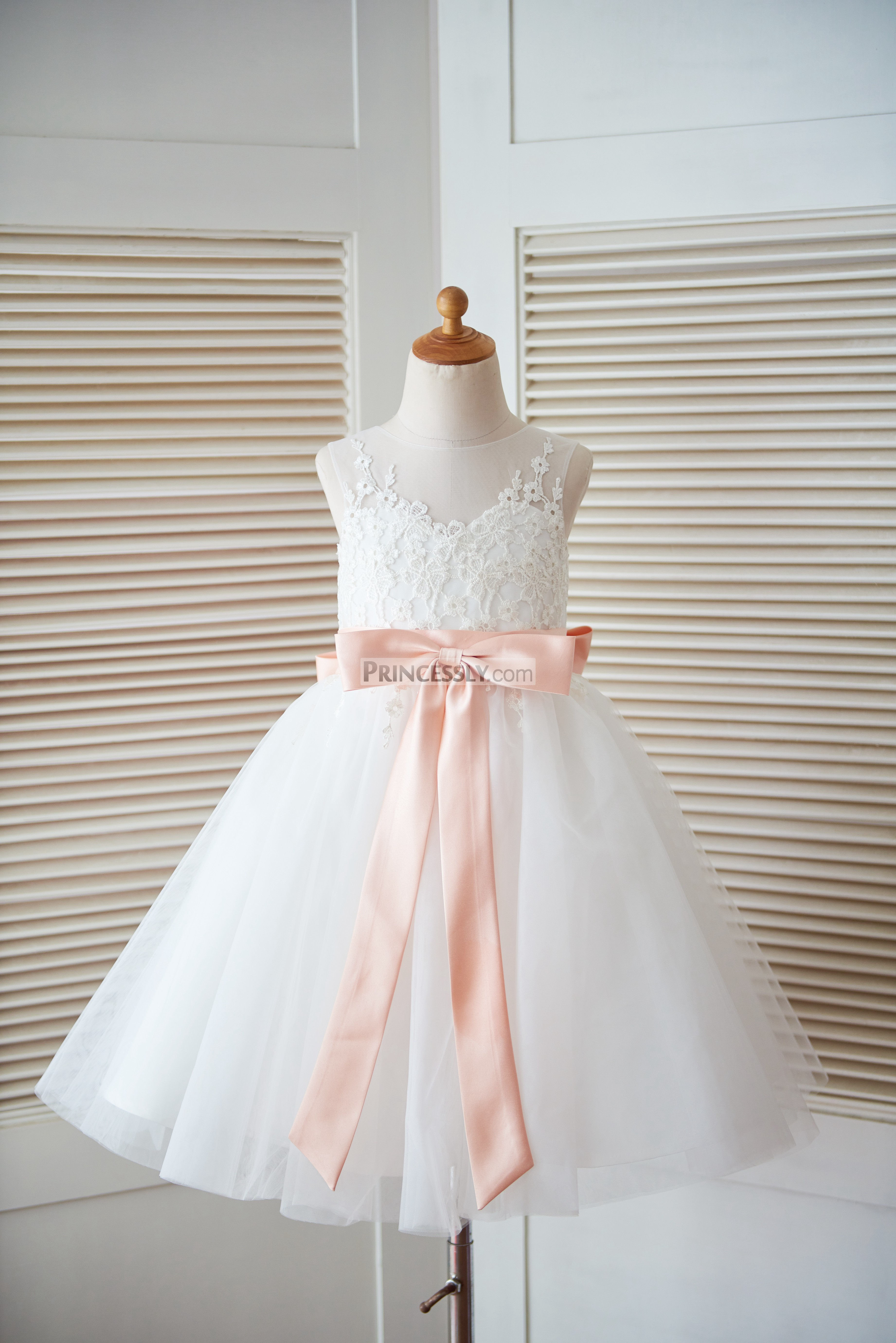 pink flower wedding dress ivory lace tulle keyhole back flower dress with blush 6581