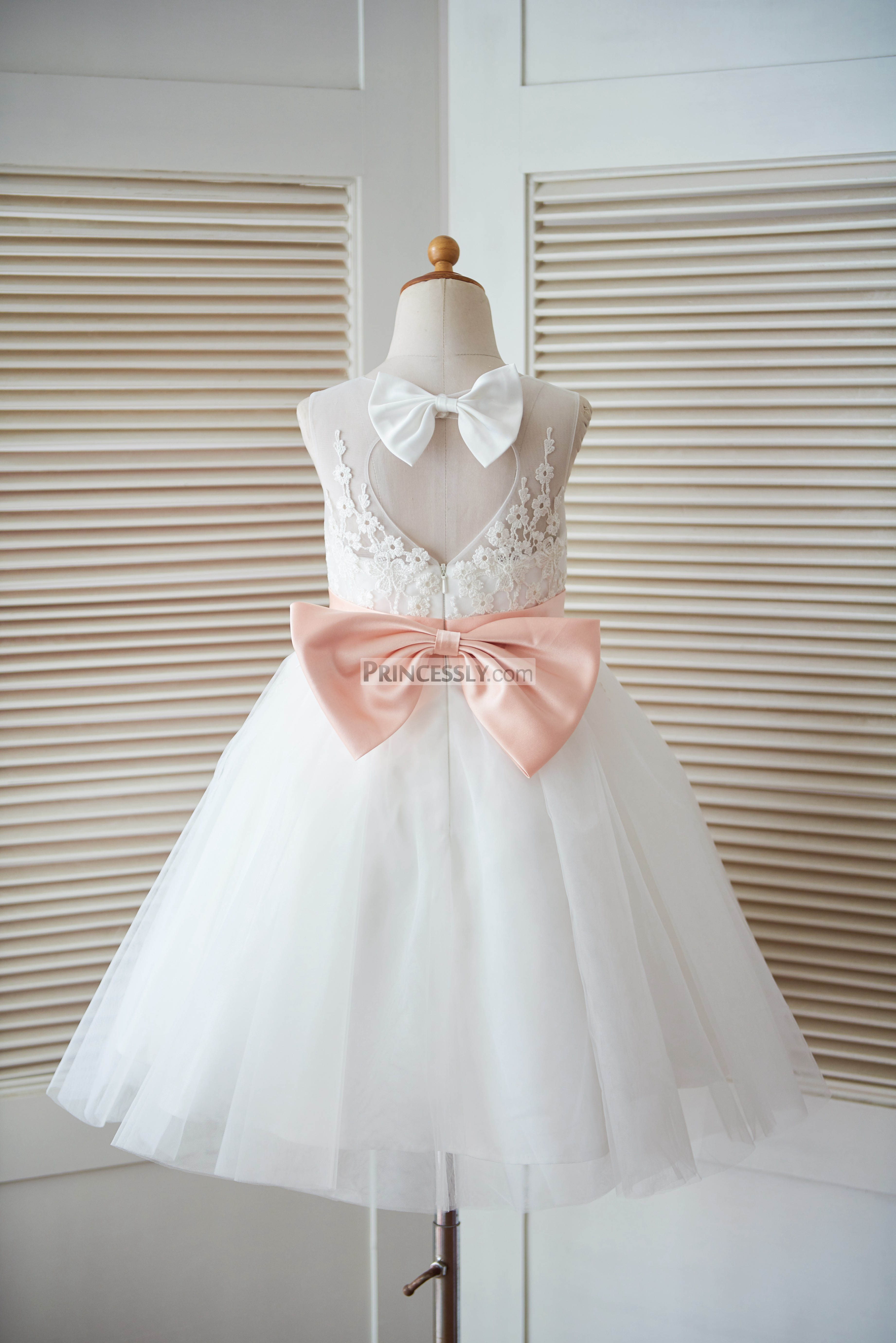 ivory lace tulle keyhole back flower girl dress with blush