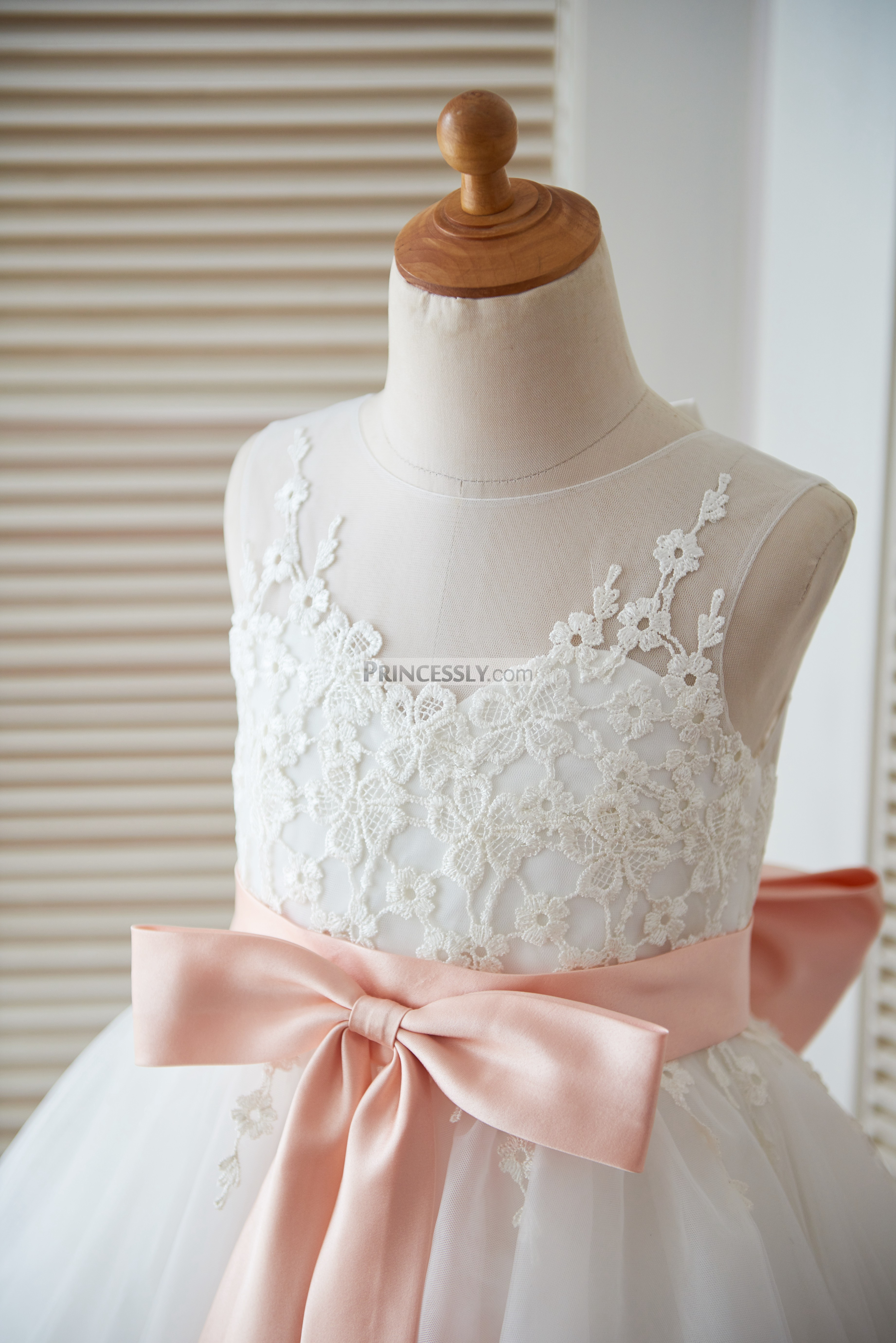 Ivory Lace Tulle Keyhole Back Flower Girl Dress With Blush Pink Bow Avivaly