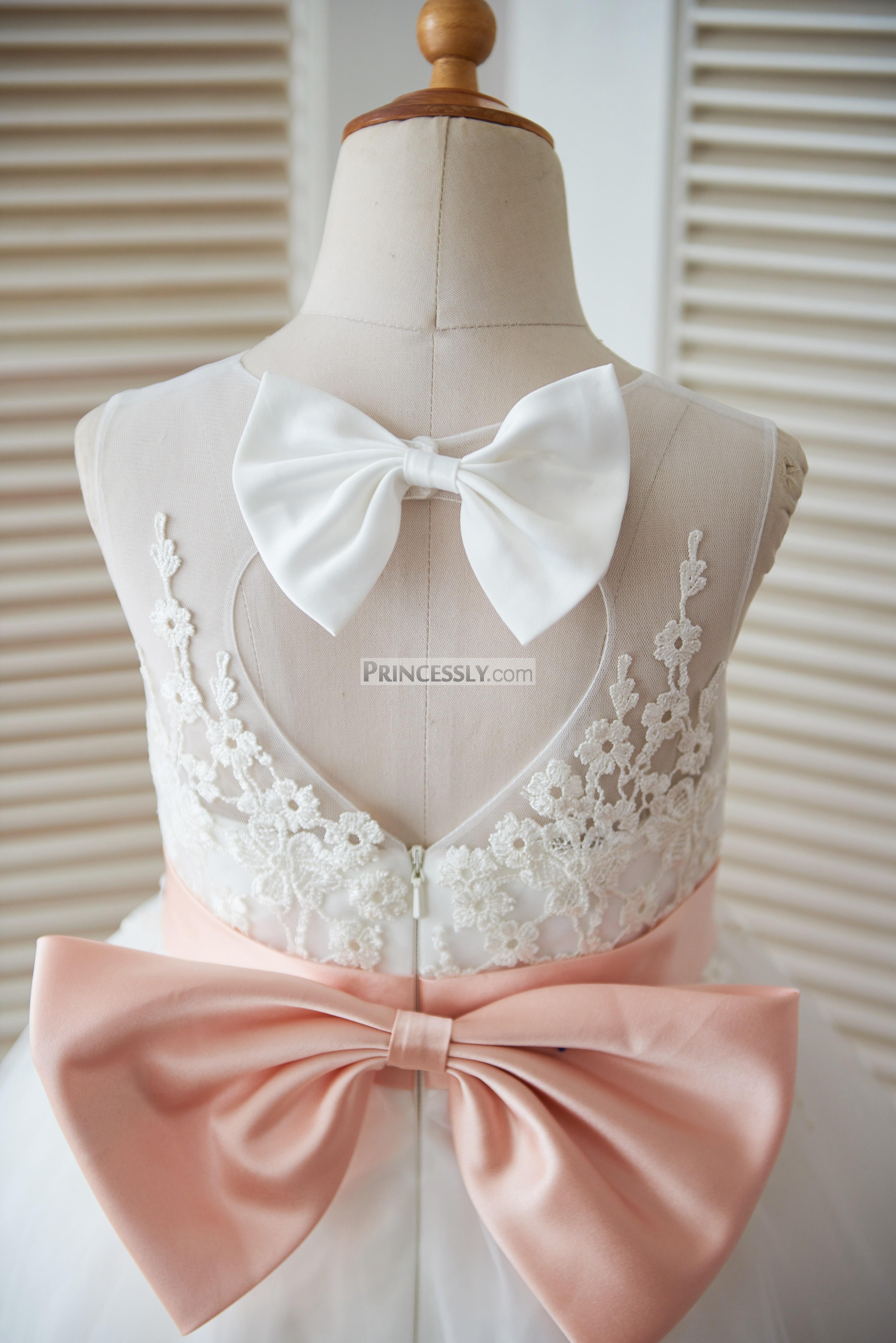 Ivory Lace Tulle Keyhole Back Flower Girl Dress With Blush