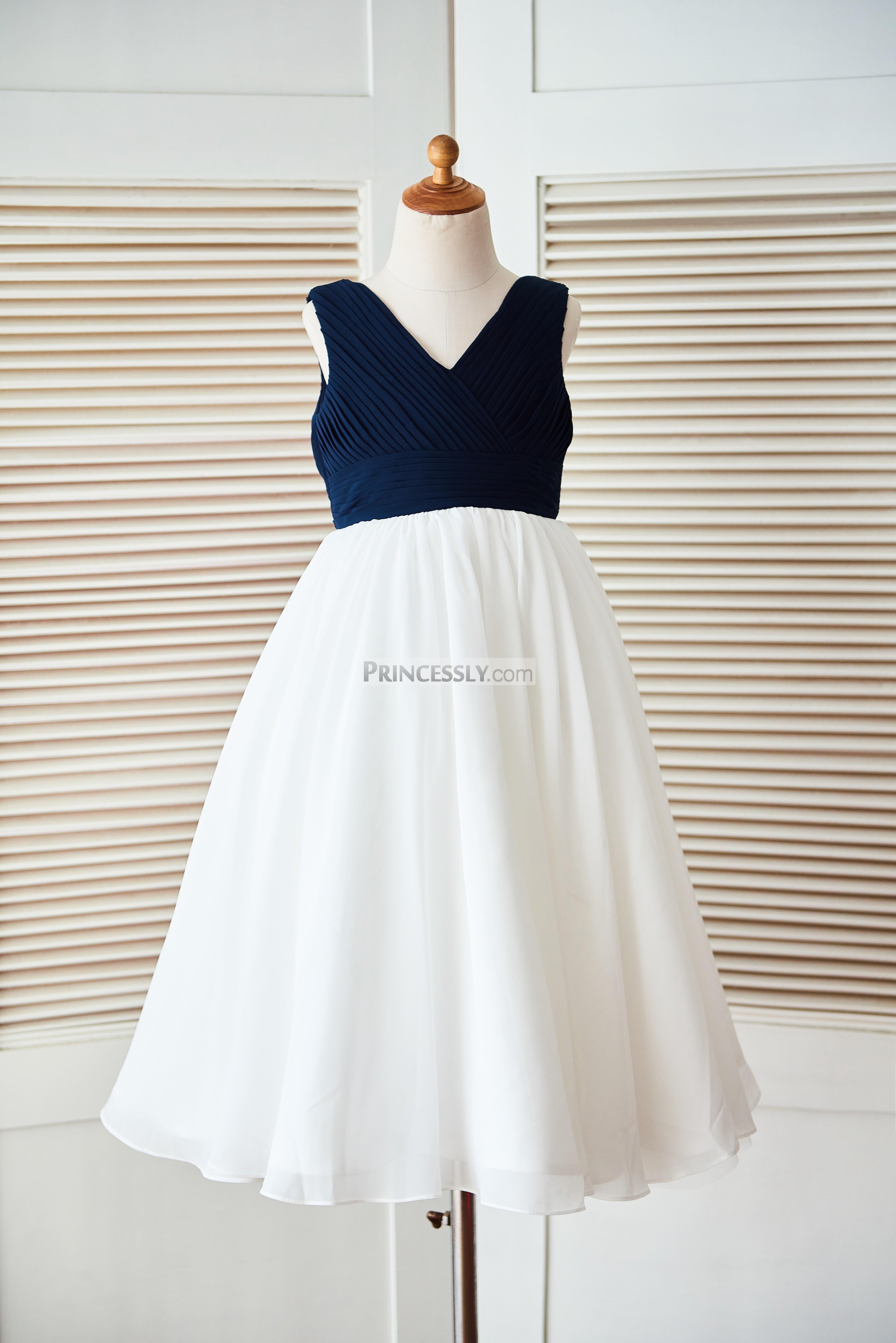 boho v neck navy blue pleated ivory chiffon beach wedding