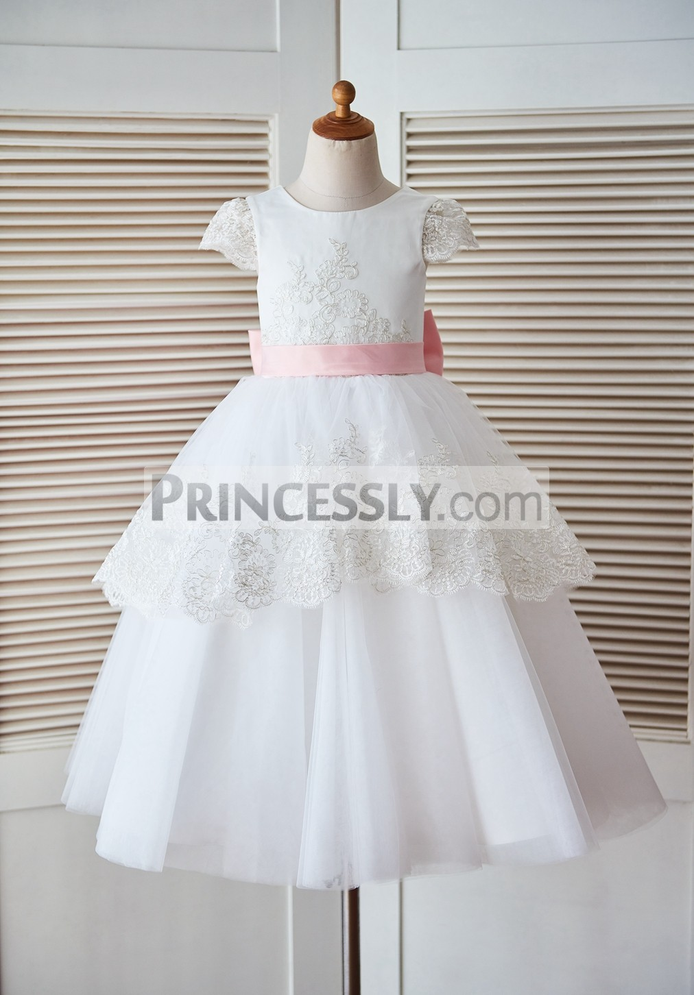 22ed6ac7fa1 Cap Sleeves Lace Tulle Satin Cupcake Flower Girl Dress with Blush ...