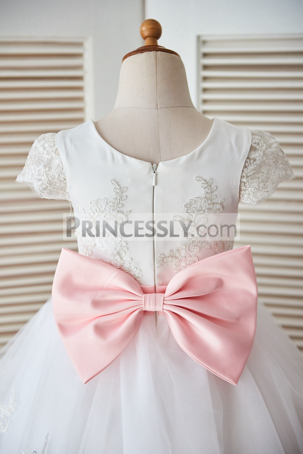 Cap Sleeves Lace Tulle Satin Cupcake Flower Girl Dress With Blush