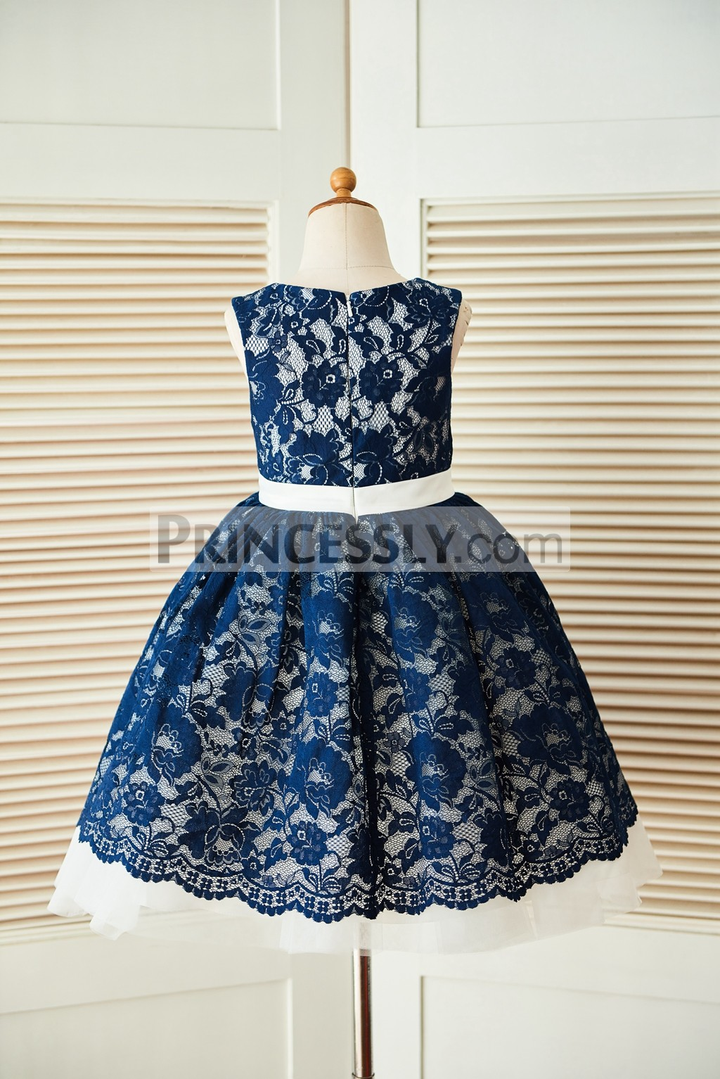 Navy blue lace ivory tulle wedding flower girl dress with for Blue lace wedding dress