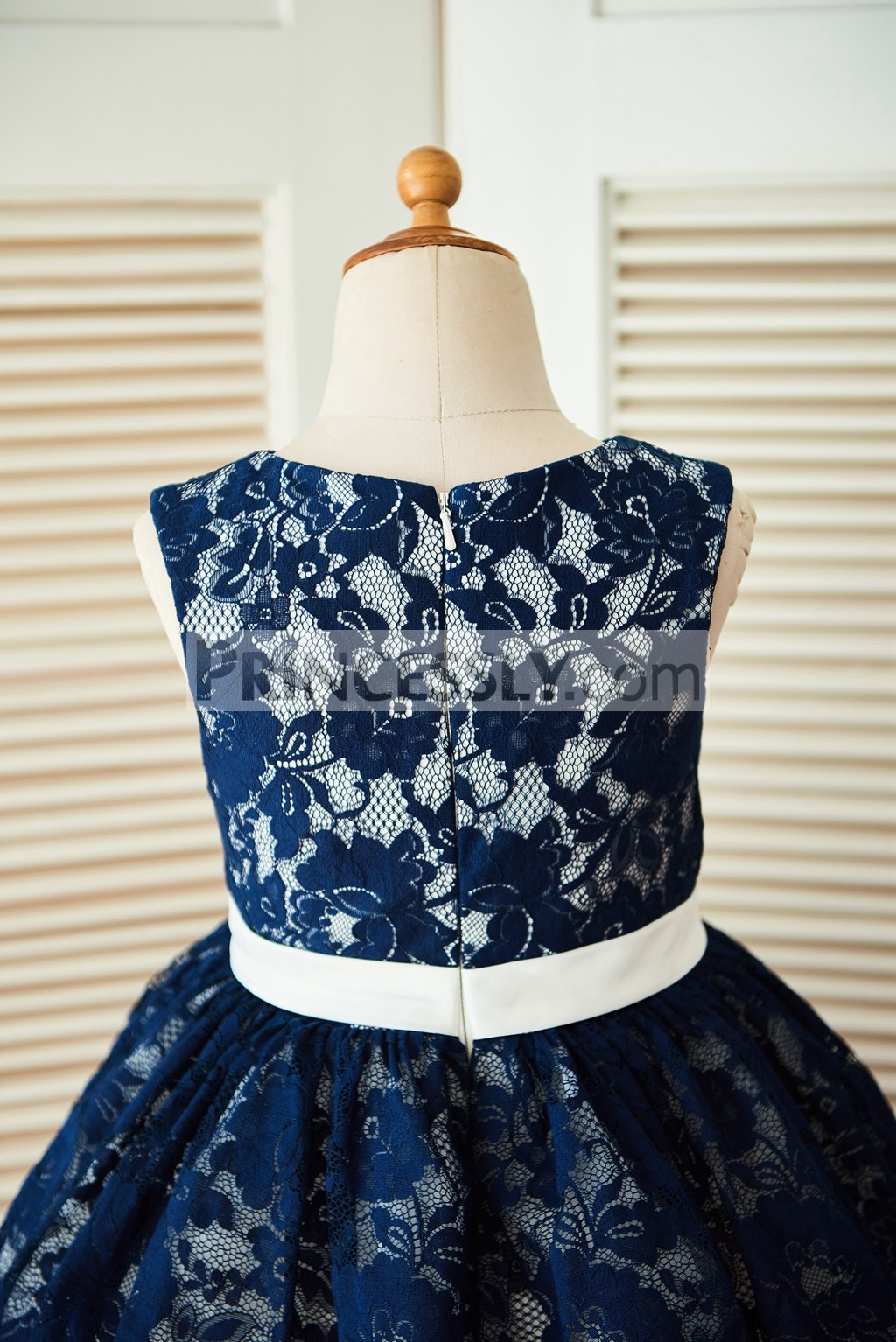 Navy Blue Lace Ivory Tulle Wedding Flower Girl Dress with