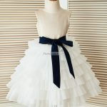 dba8d6cd7df Boho Beach Gold Sequin Peter Pan Collar Ivory   Mint Chiffon Flower Girl  Dress