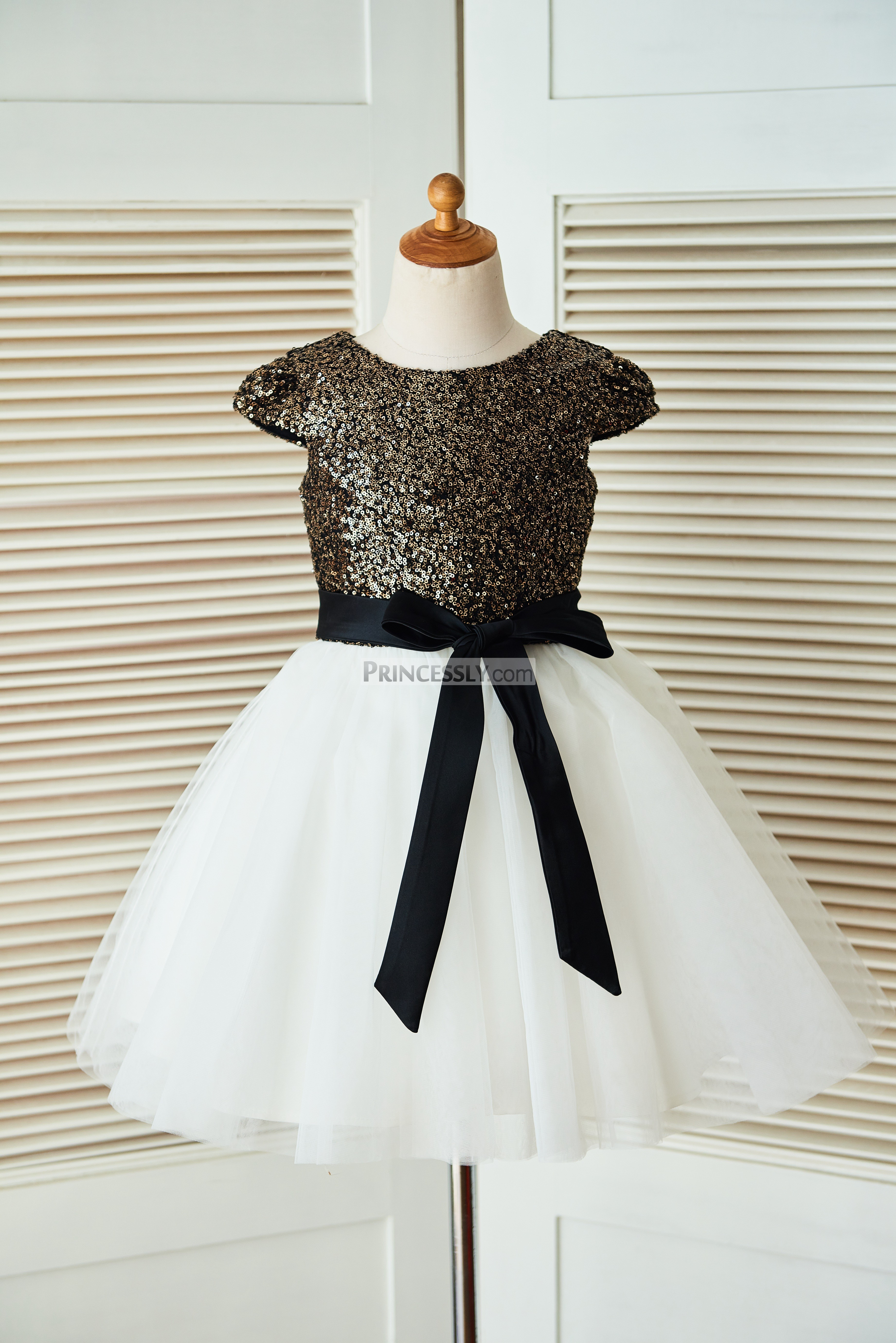 d36e3094751 Cap Sleeves Gold Sequin Ivory Tulle Flower Girl Dress with Navy Blue ...