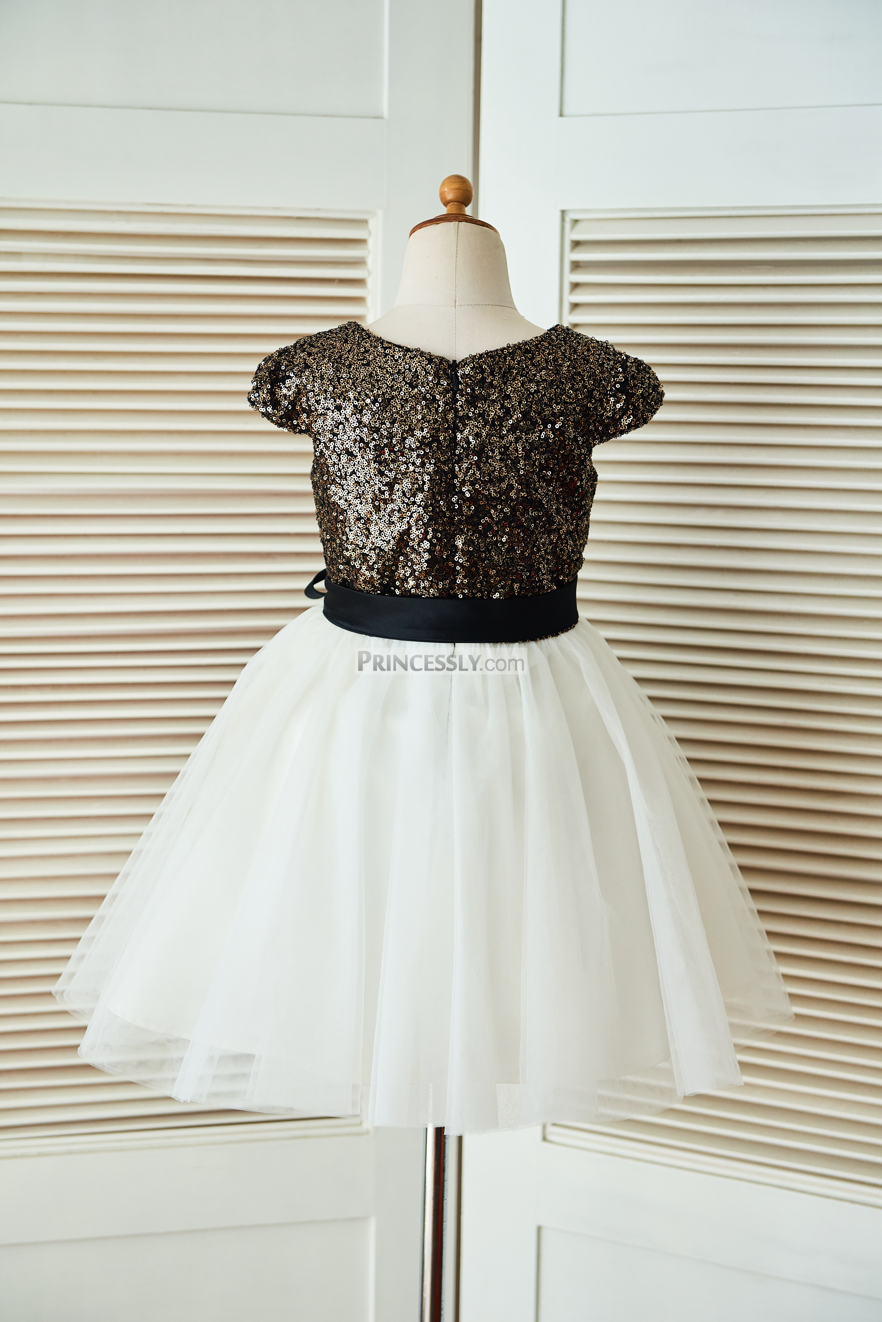 Gold sequin ivory tulle wedding baby girl dress with navy blue sash