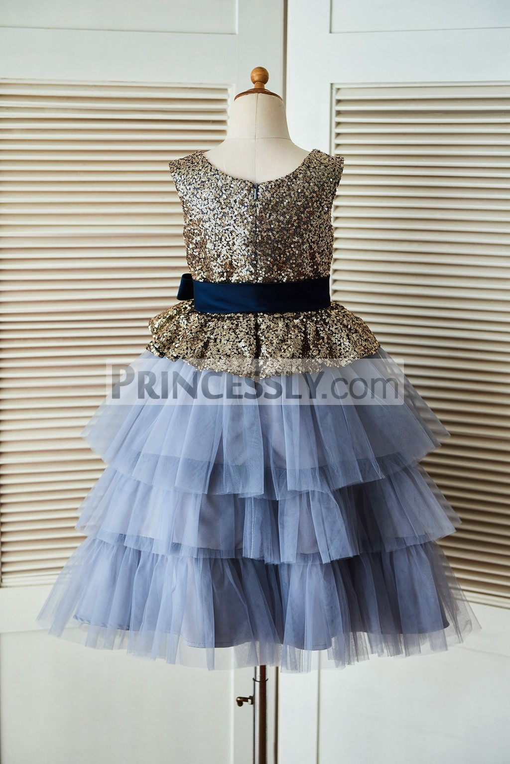 2b24fac9be9 Gold Sequin Blue Cupcake Tulle Flower Girl Dress with Navy Blue Belt ...